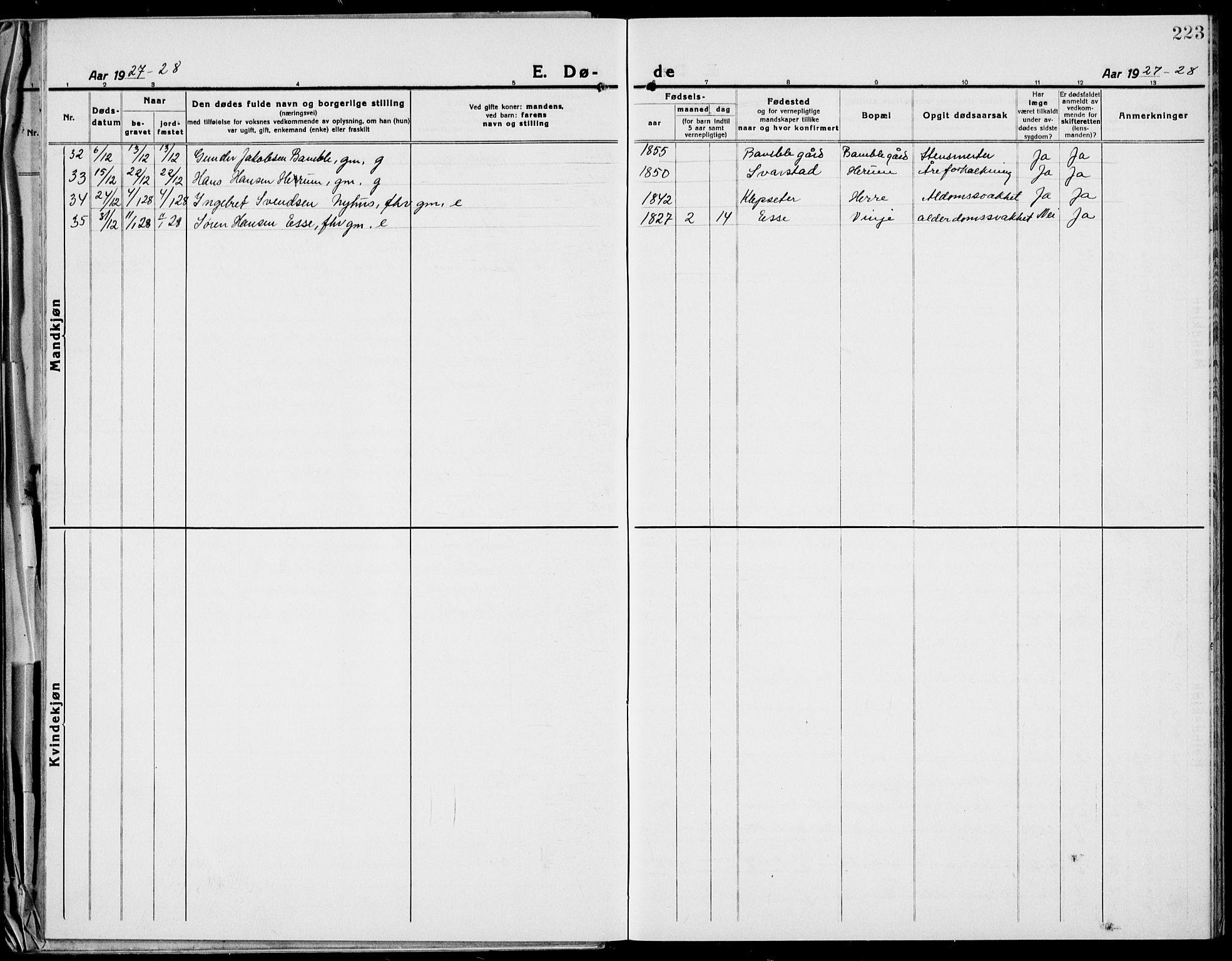 SAKO, Bamble kirkebøker, G/Ga/L0011: Klokkerbok nr. I 11, 1920-1935, s. 223