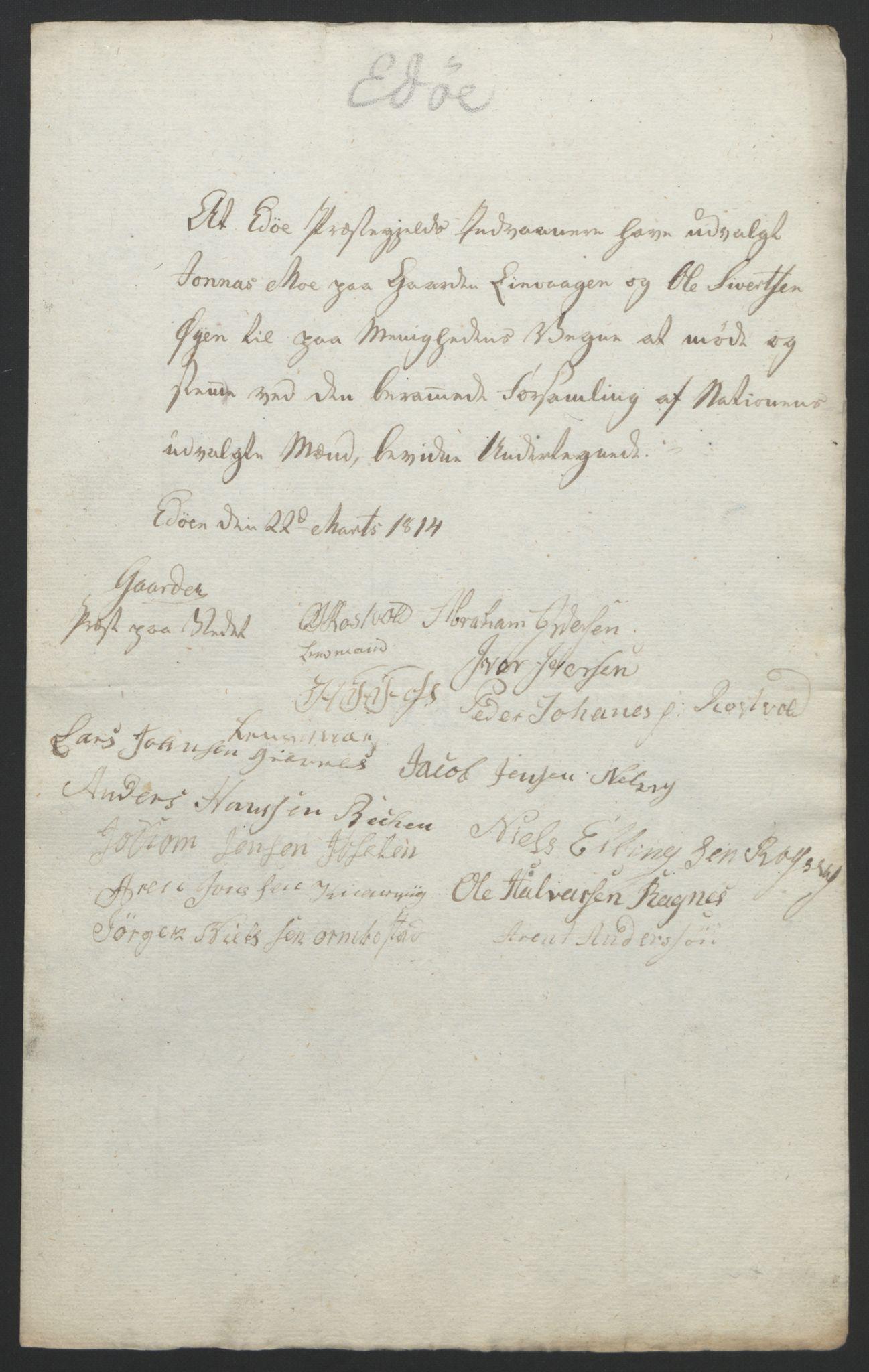 RA, Statsrådssekretariatet, D/Db/L0008: Fullmakter for Eidsvollsrepresentantene i 1814. , 1814, s. 368