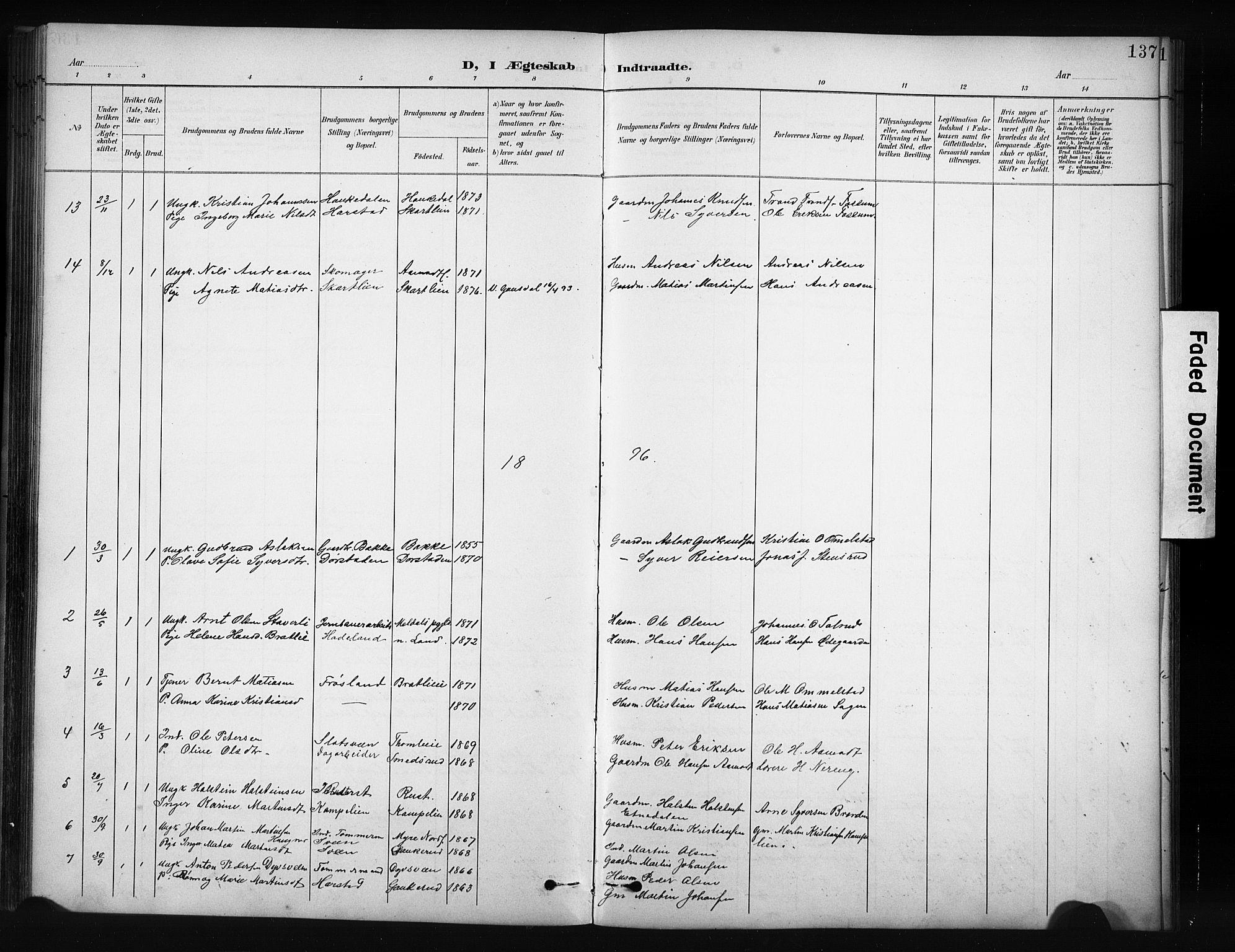 SAH, Nordre Land prestekontor, Klokkerbok nr. 12, 1891-1909, s. 137