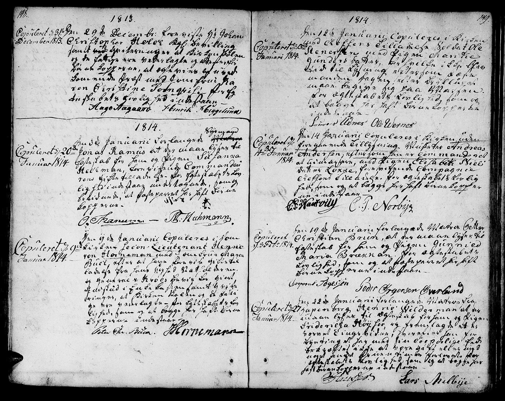 SAT, Ministerialprotokoller, klokkerbøker og fødselsregistre - Sør-Trøndelag, 601/L0042: Ministerialbok nr. 601A10, 1802-1830, s. 148-149