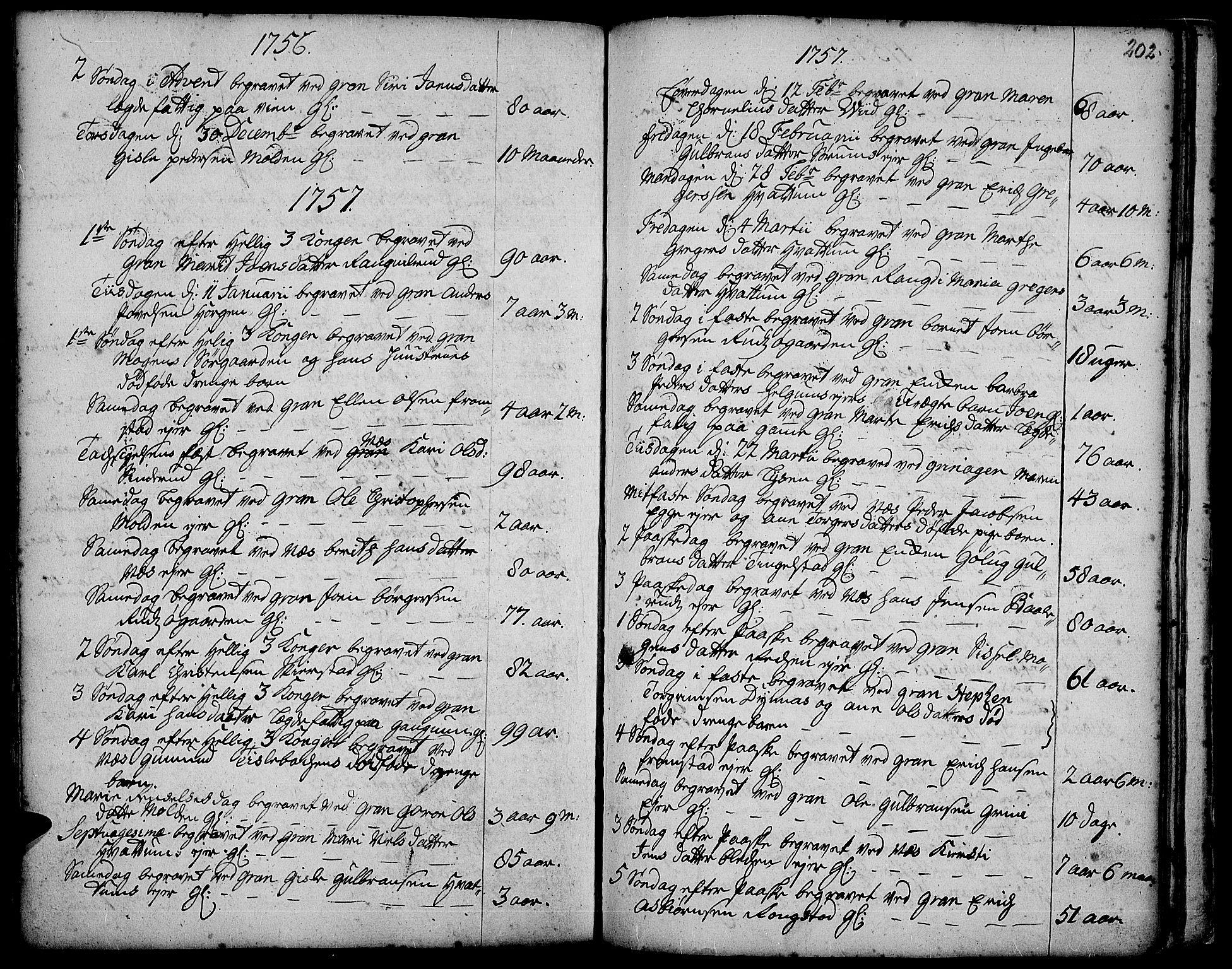 SAH, Gran prestekontor, Ministerialbok nr. 3, 1745-1758, s. 202