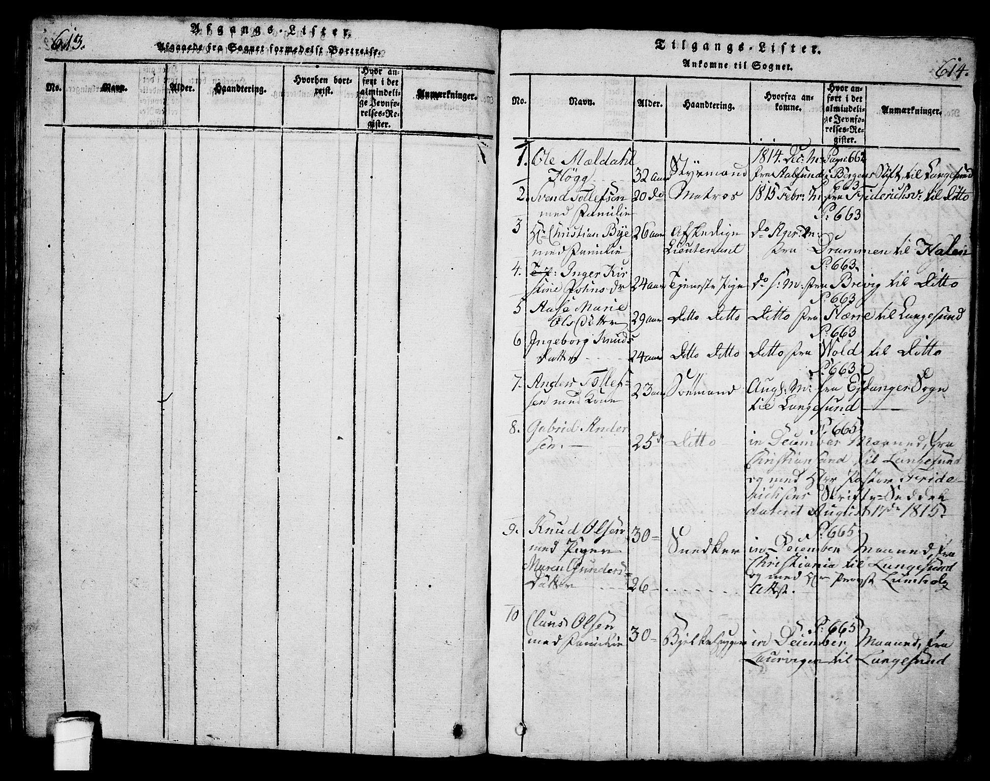 SAKO, Langesund kirkebøker, G/Ga/L0003: Klokkerbok nr. 3, 1815-1858, s. 613-614