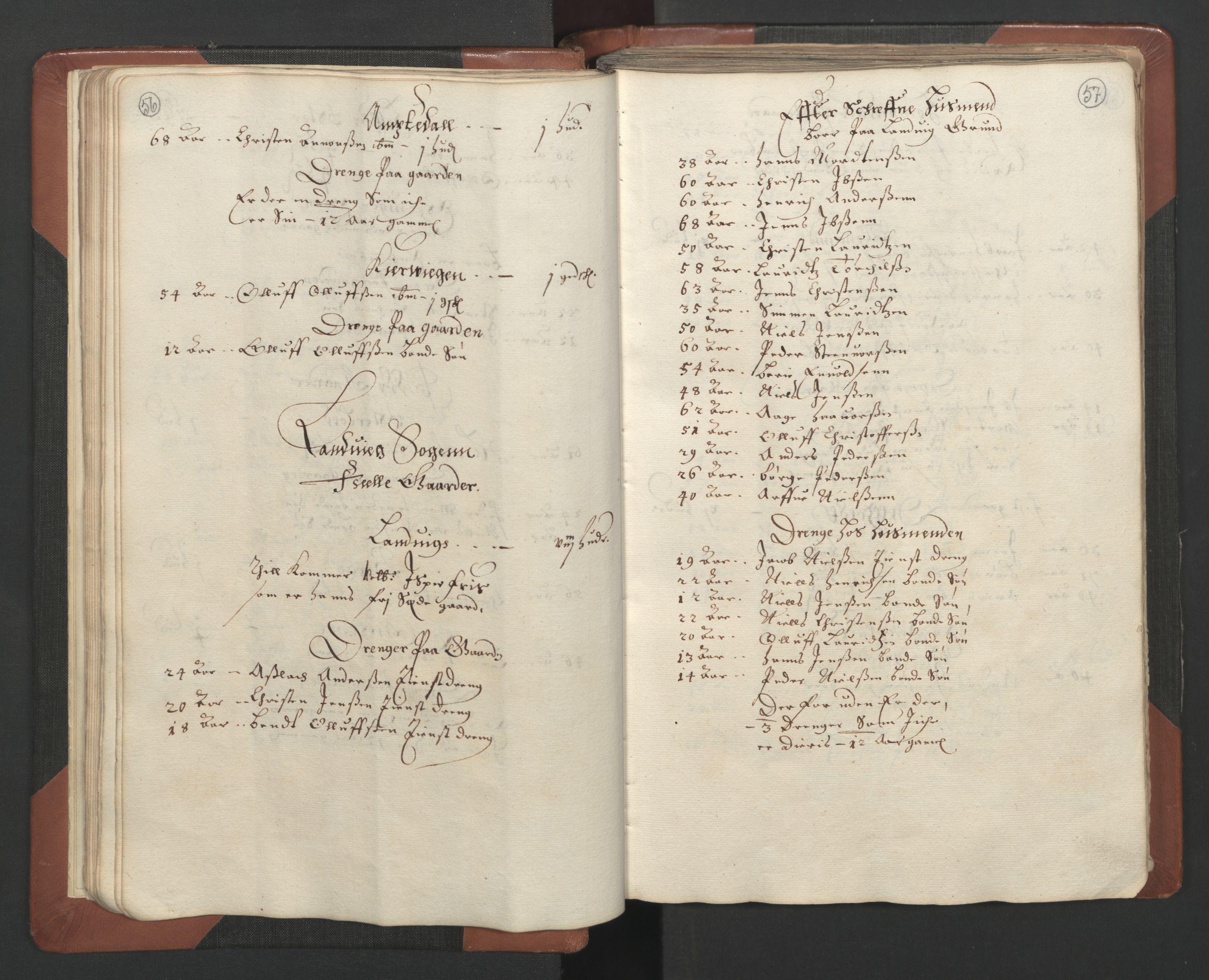 RA, Fogdenes og sorenskrivernes manntall 1664-1666, nr. 7: Nedenes fogderi, 1664-1666, s. 56-57