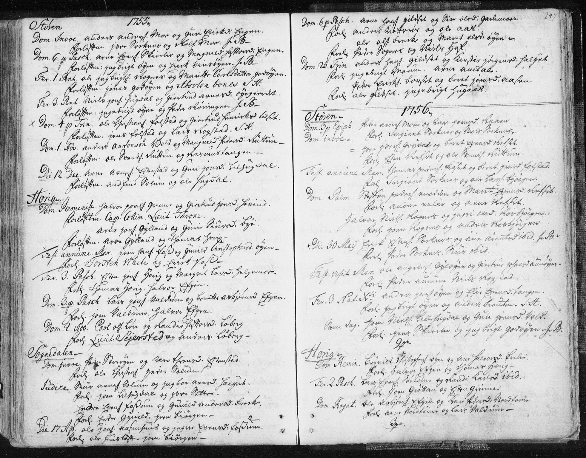 SAT, Ministerialprotokoller, klokkerbøker og fødselsregistre - Sør-Trøndelag, 687/L0991: Ministerialbok nr. 687A02, 1747-1790, s. 247