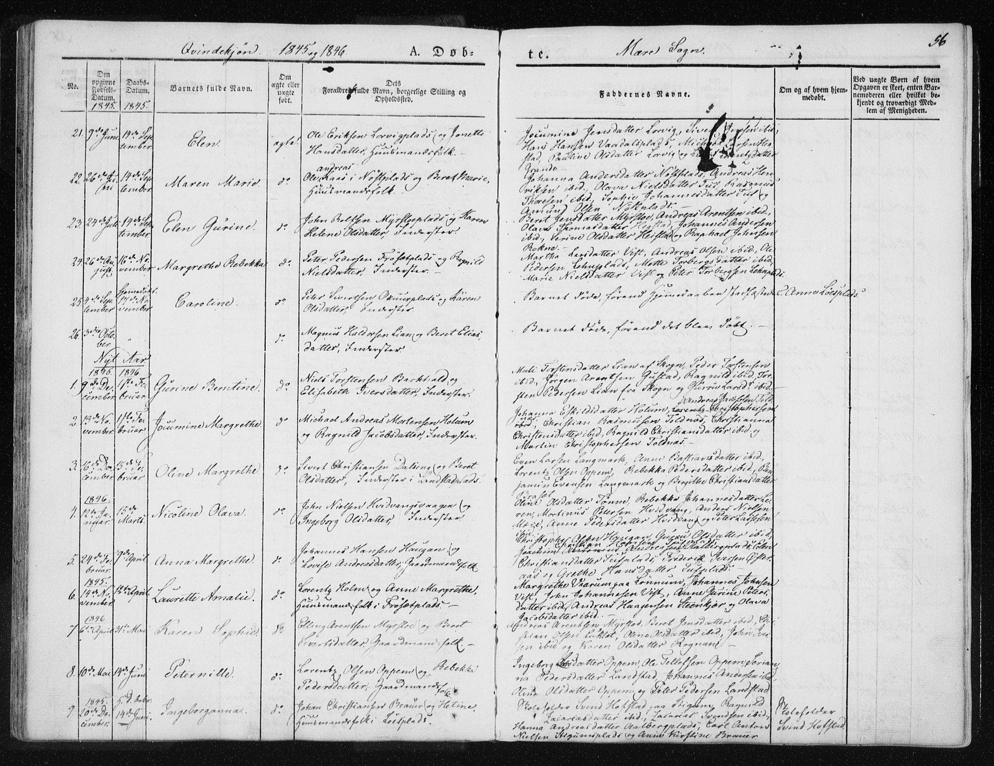 SAT, Ministerialprotokoller, klokkerbøker og fødselsregistre - Nord-Trøndelag, 735/L0339: Ministerialbok nr. 735A06 /1, 1836-1848, s. 56
