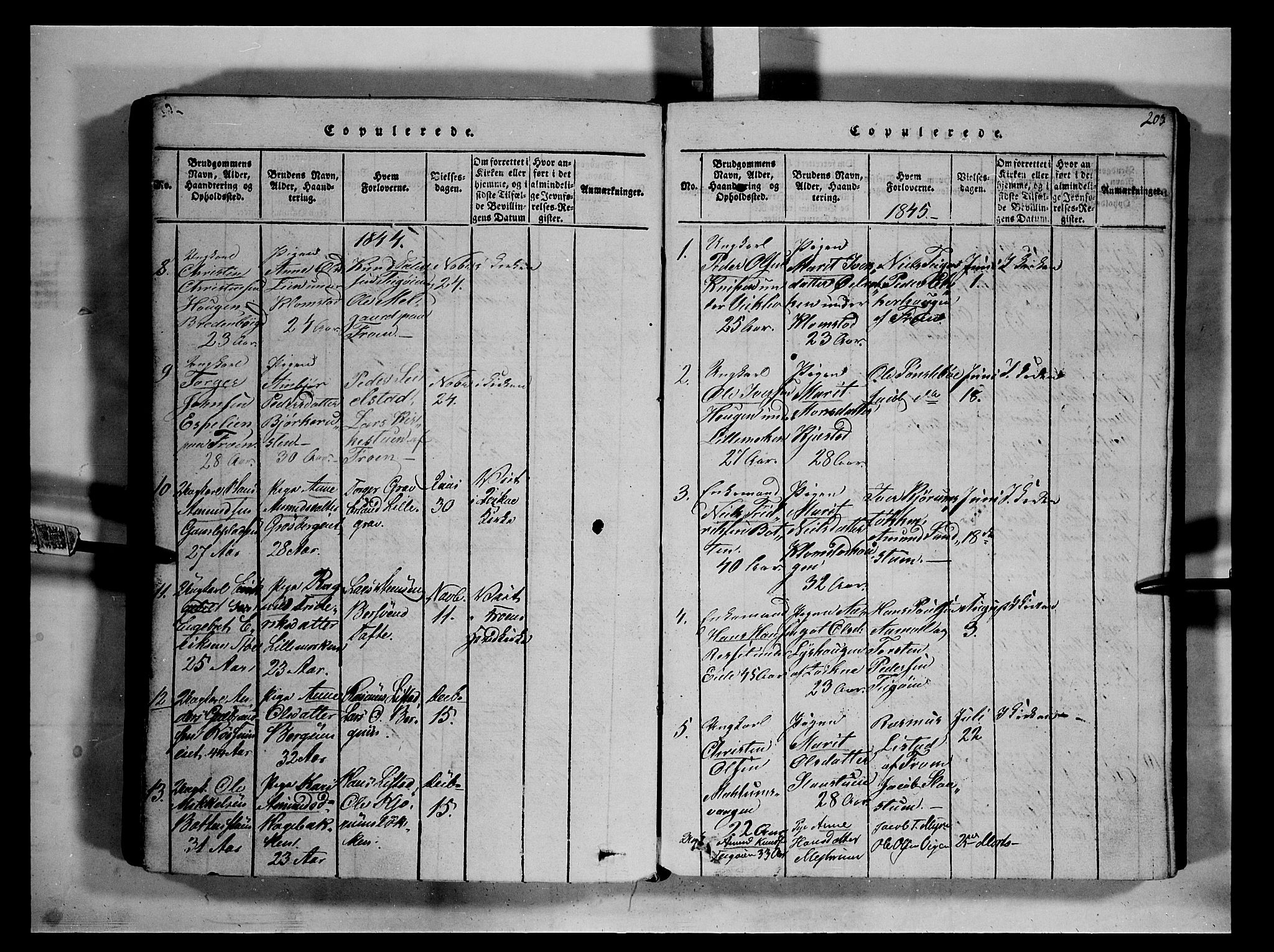 SAH, Fron prestekontor, H/Ha/Hab/L0002: Klokkerbok nr. 2, 1816-1850, s. 203