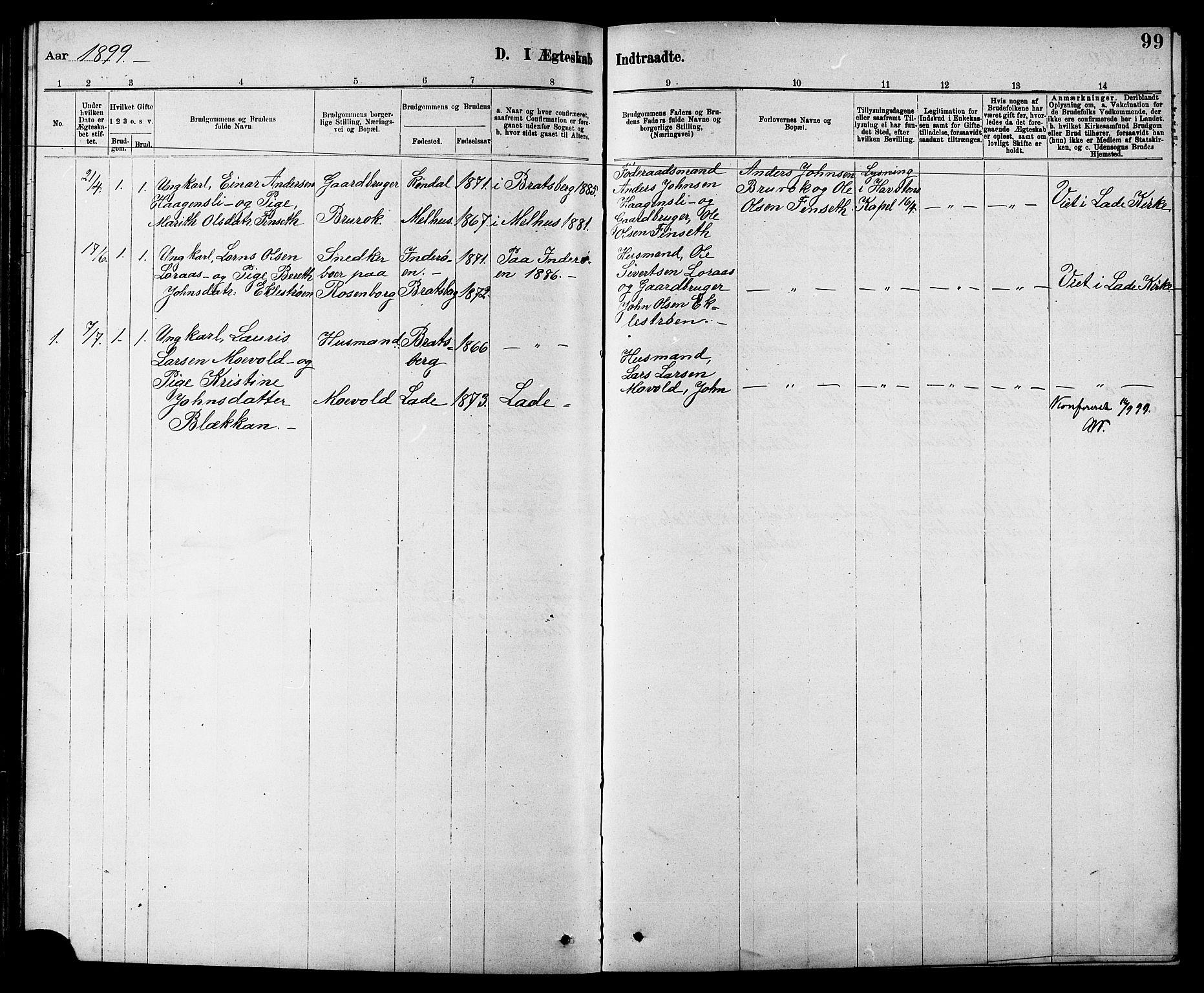 SAT, Ministerialprotokoller, klokkerbøker og fødselsregistre - Sør-Trøndelag, 608/L0341: Klokkerbok nr. 608C07, 1890-1912, s. 99