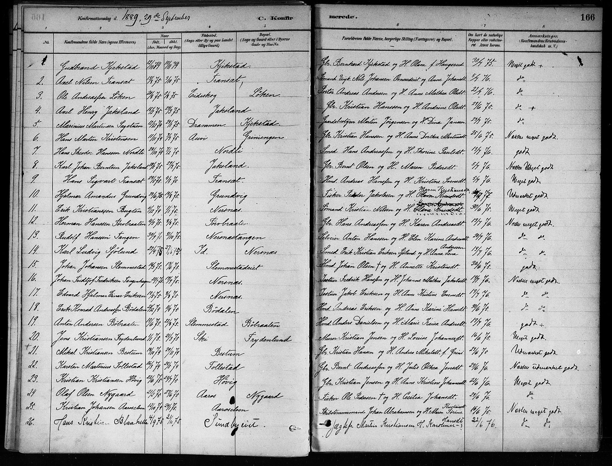 SAKO, Røyken kirkebøker, F/Fa/L0008: Ministerialbok nr. 8, 1880-1897, s. 166