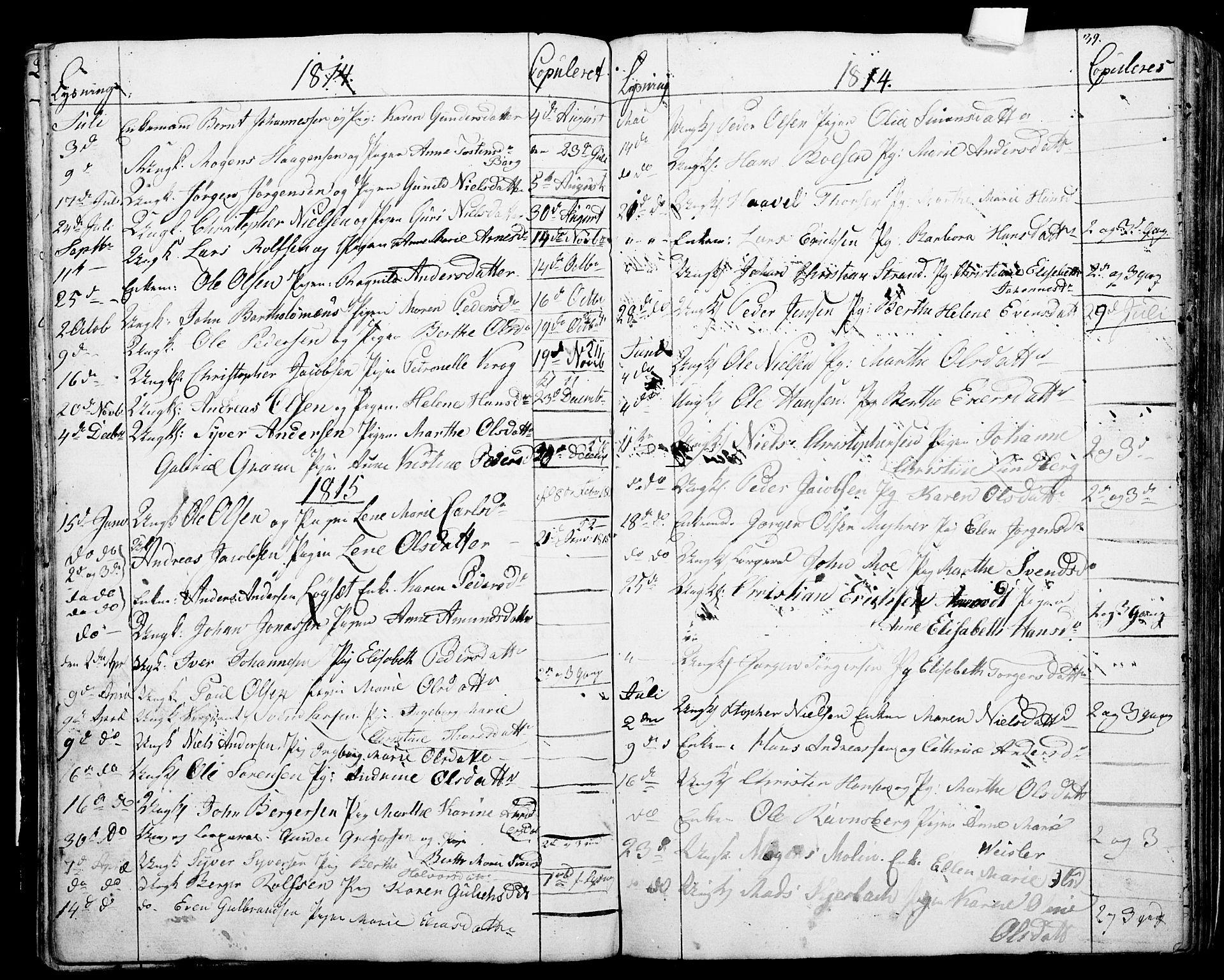 SAO, Garnisonsmenigheten Kirkebøker, G/Ga/L0001: Klokkerbok nr. 1, 1796-1814, s. 38-39