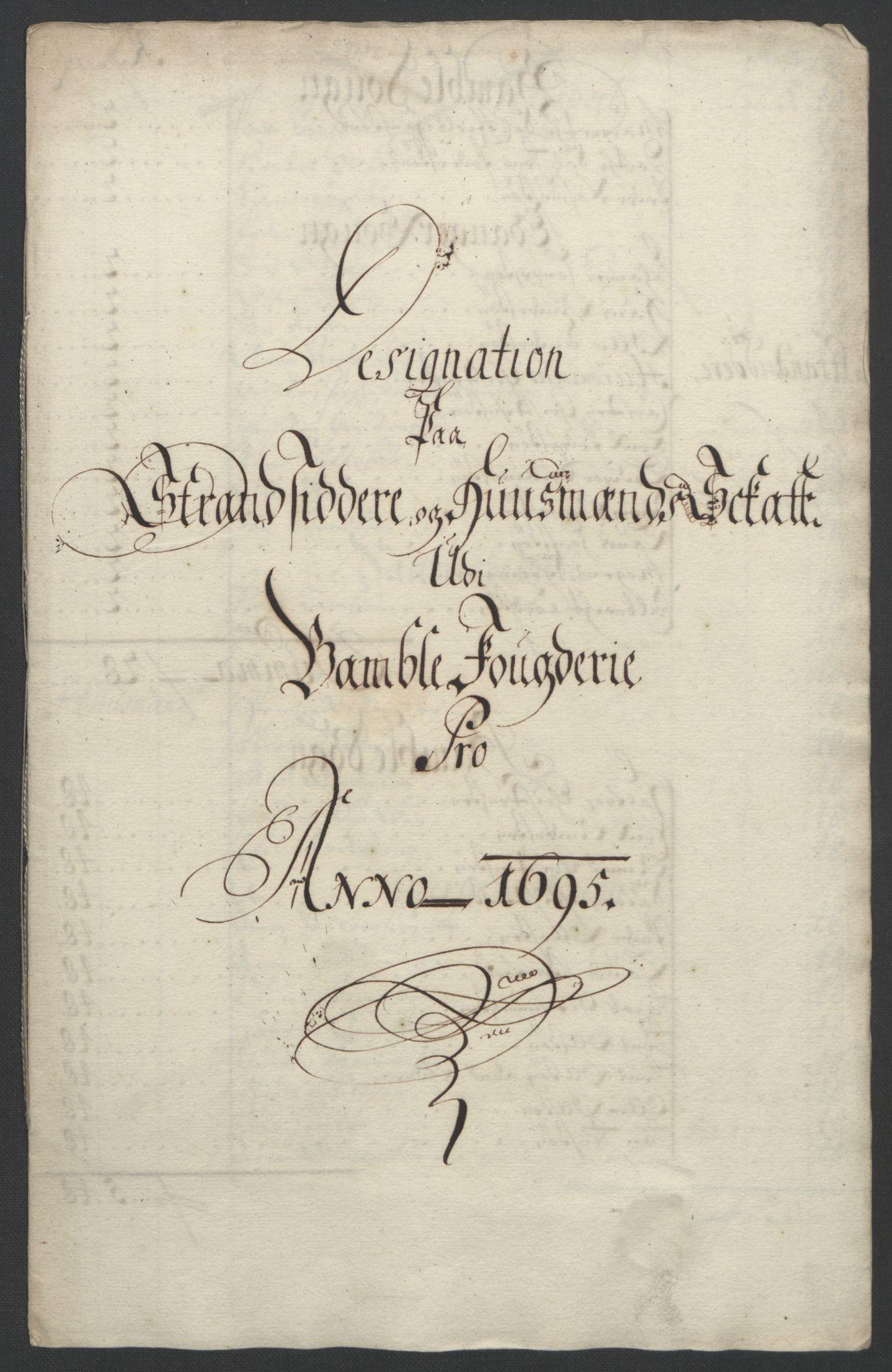 RA, Rentekammeret inntil 1814, Reviderte regnskaper, Fogderegnskap, R36/L2093: Fogderegnskap Øvre og Nedre Telemark og Bamble, 1695, s. 448