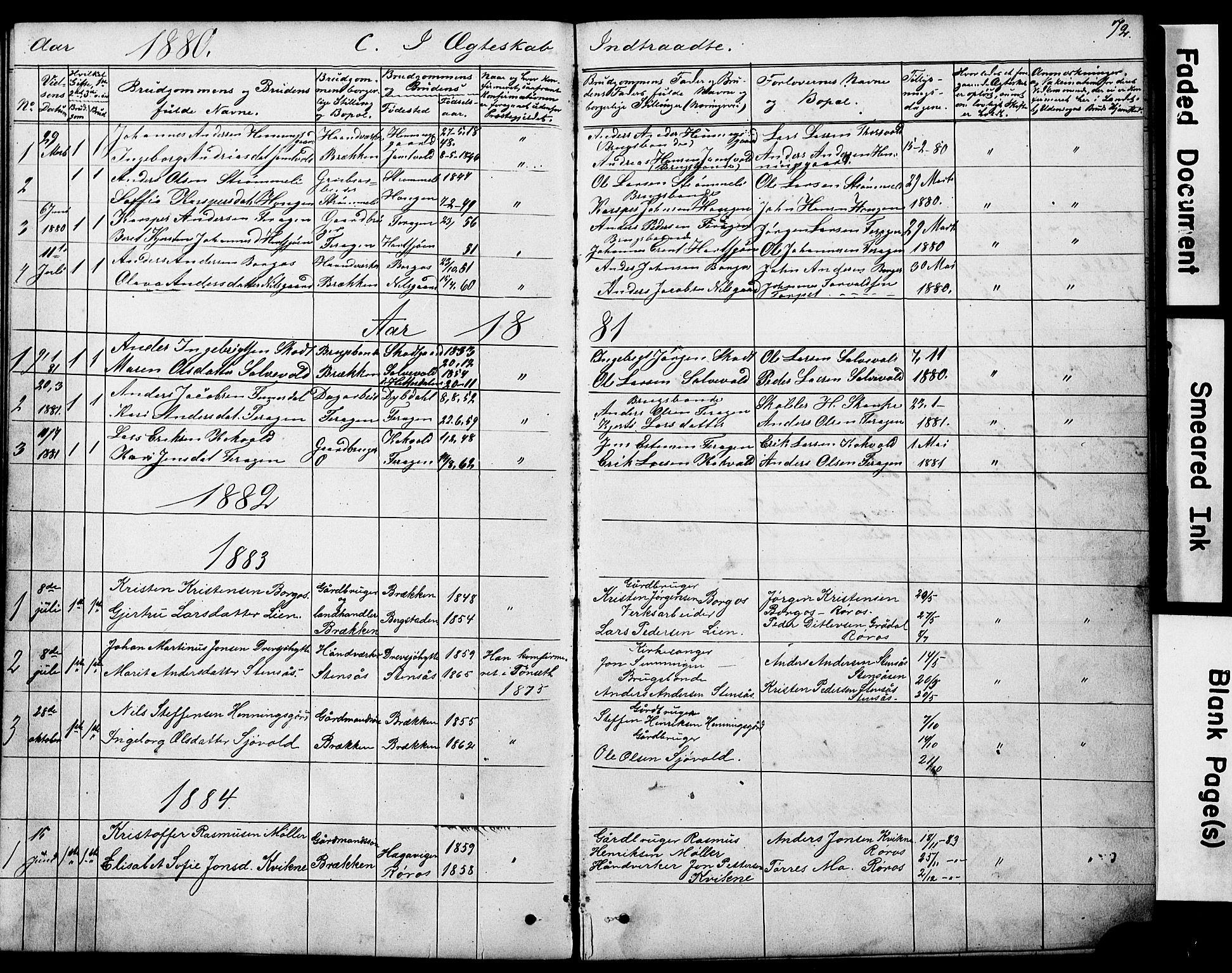 SAT, Ministerialprotokoller, klokkerbøker og fødselsregistre - Sør-Trøndelag, 683/L0949: Klokkerbok nr. 683C01, 1880-1896, s. 72