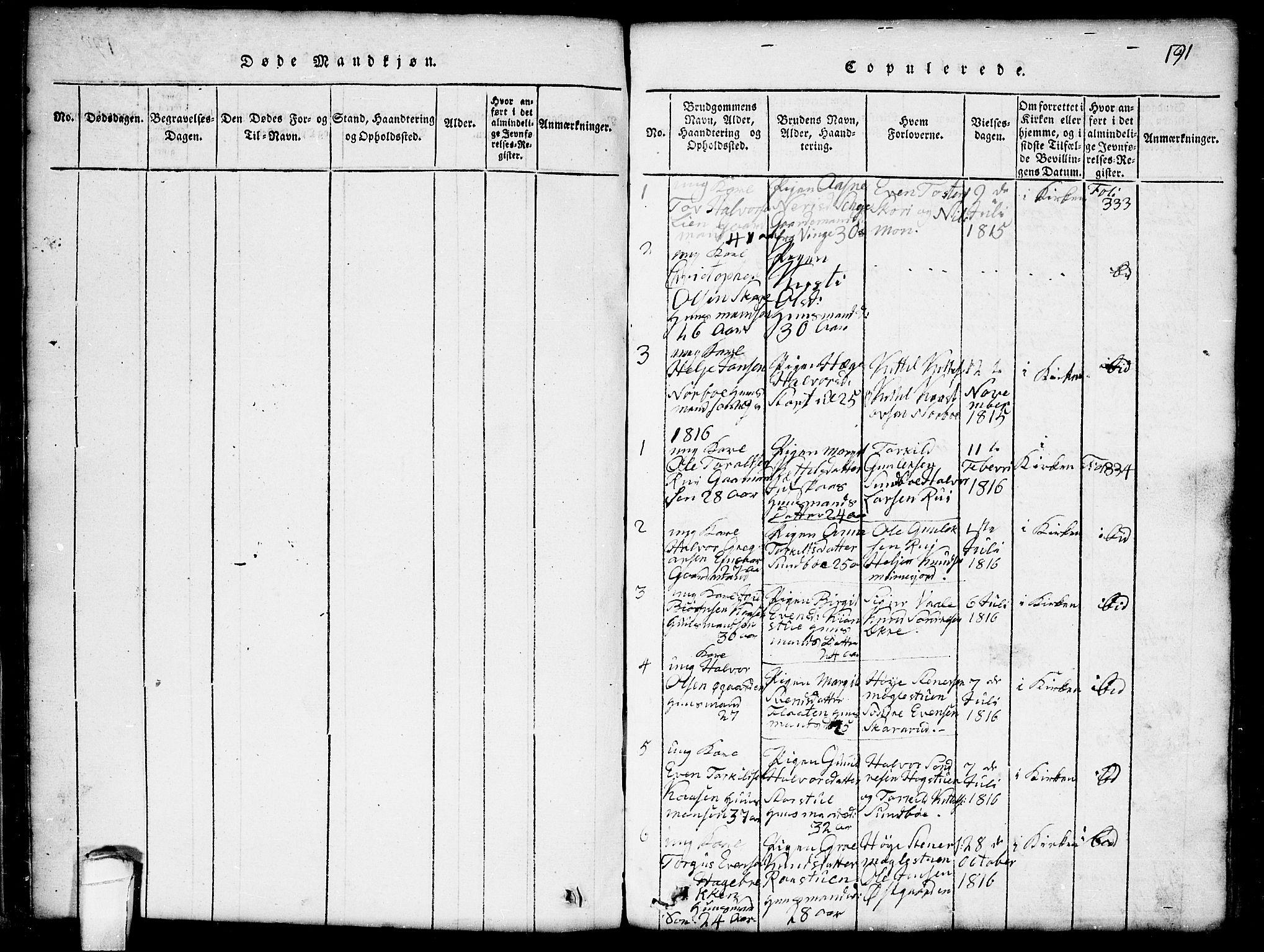 SAKO, Seljord kirkebøker, G/Gb/L0002: Klokkerbok nr. II 2, 1815-1854, s. 191