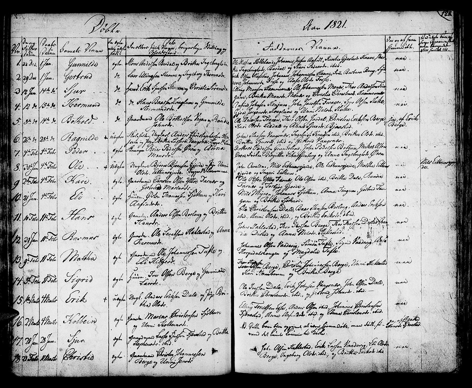 SAB, Leikanger Sokneprestembete, Ministerialbok nr. A 6, 1810-1838, s. 128