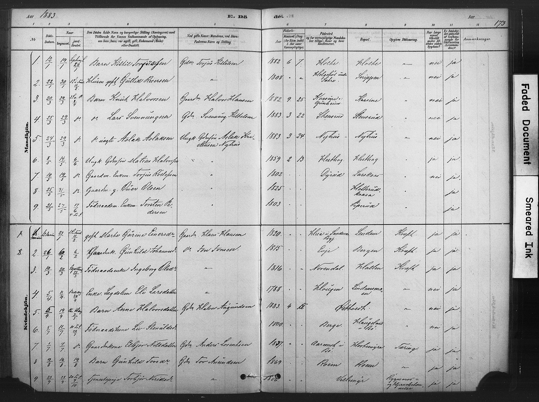 SAKO, Sauherad kirkebøker, F/Fb/L0002: Ministerialbok nr. II 2, 1878-1901, s. 173