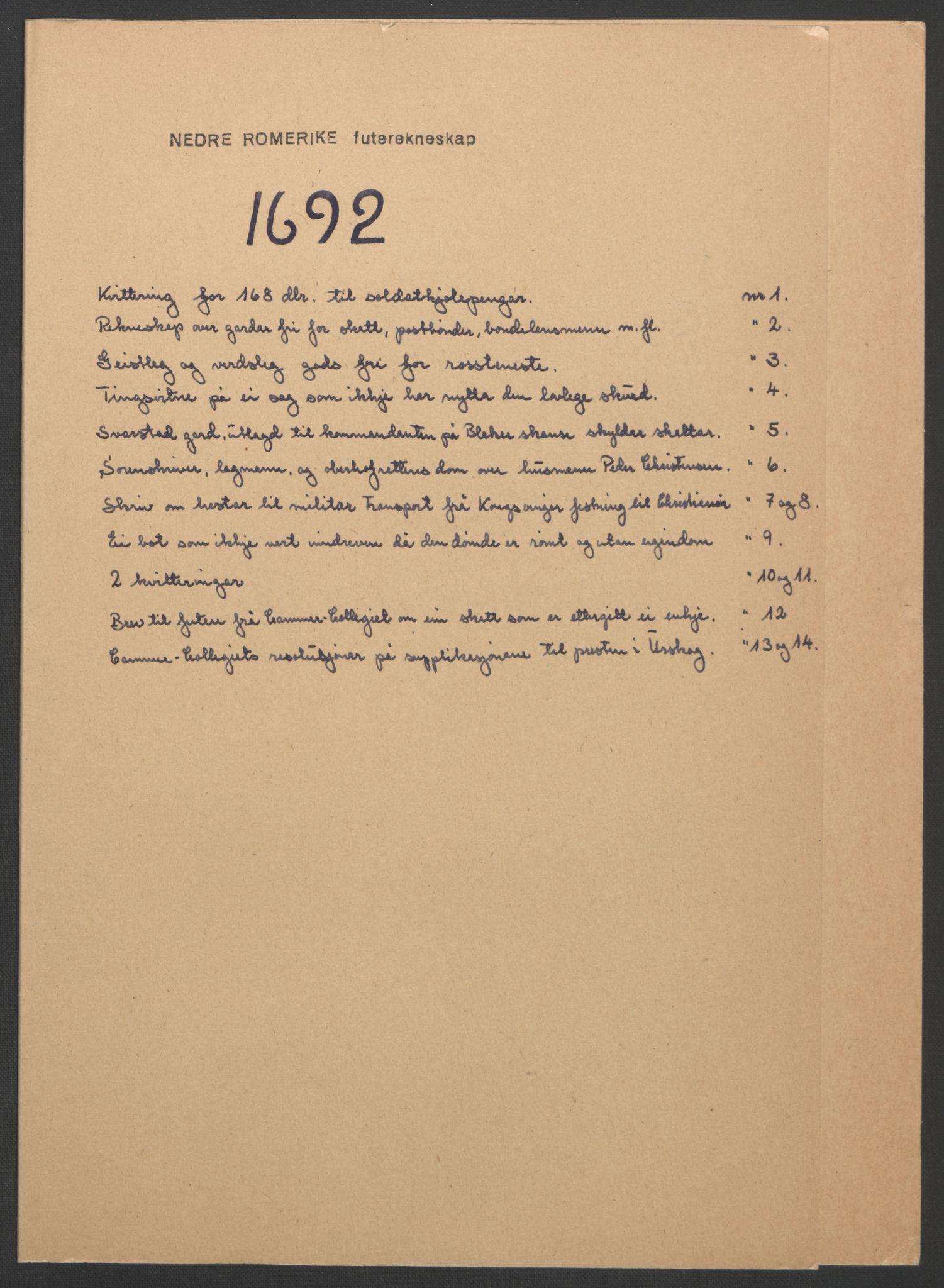 RA, Rentekammeret inntil 1814, Reviderte regnskaper, Fogderegnskap, R11/L0577: Fogderegnskap Nedre Romerike, 1692, s. 235
