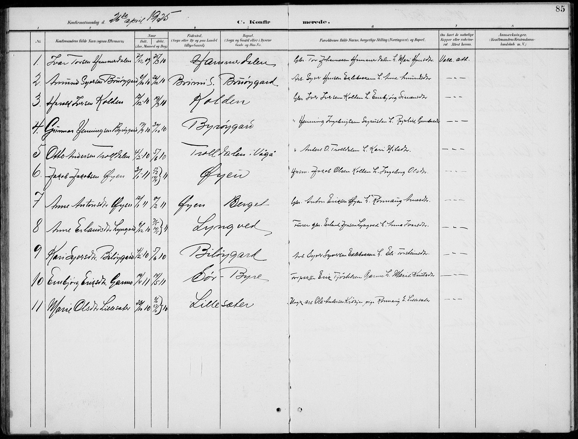 SAH, Lom prestekontor, L/L0006: Klokkerbok nr. 6, 1901-1939, s. 85