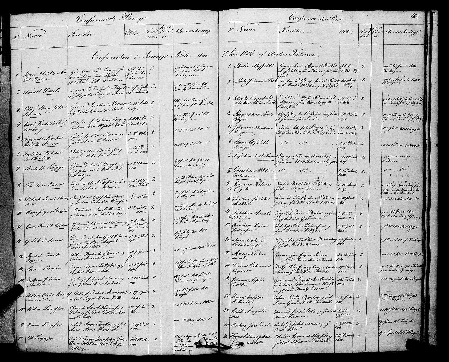 SAKO, Larvik kirkebøker, F/Fa/L0002: Ministerialbok nr. I 2, 1825-1847, s. 167
