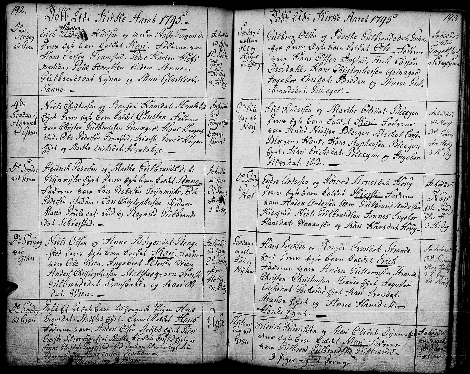 SAH, Gran prestekontor, Ministerialbok nr. 6, 1787-1824, s. 192-193