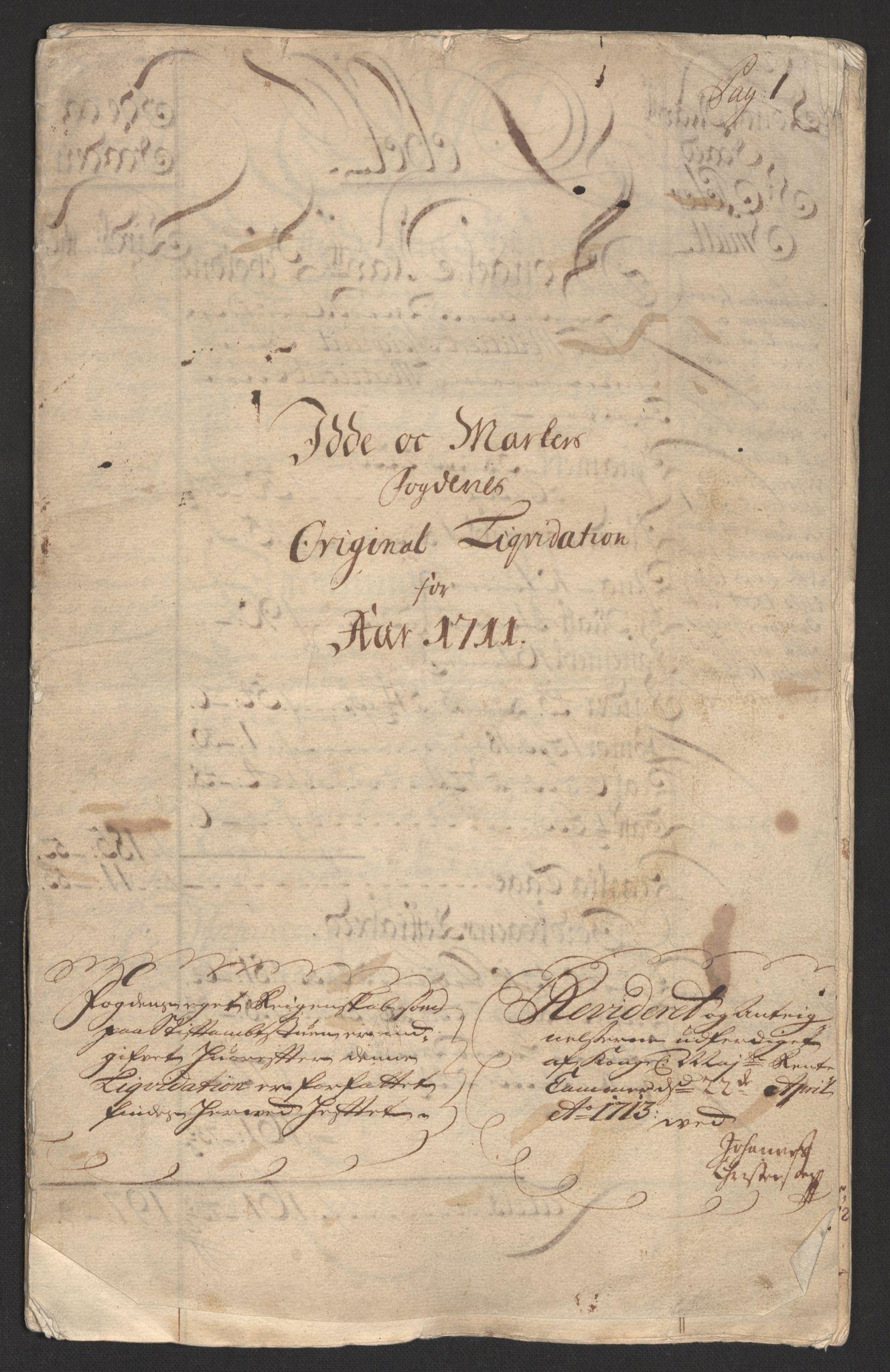 RA, Rentekammeret inntil 1814, Reviderte regnskaper, Fogderegnskap, R01/L0020: Fogderegnskap Idd og Marker, 1711, s. 3
