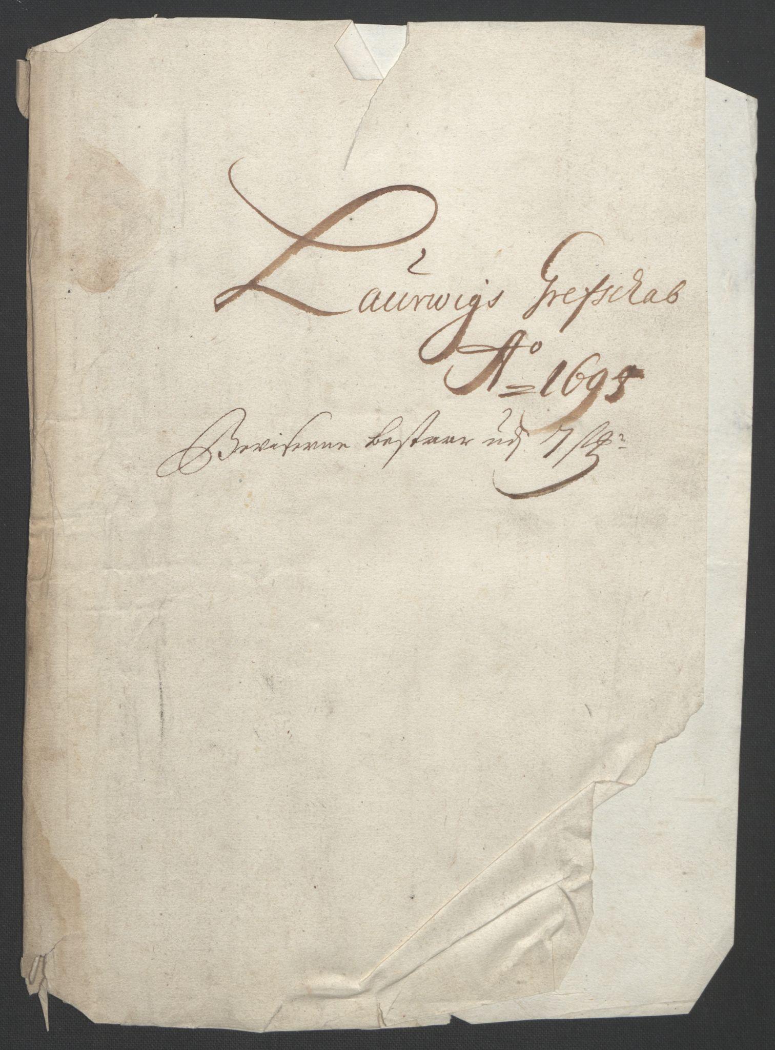 RA, Rentekammeret inntil 1814, Reviderte regnskaper, Fogderegnskap, R33/L1974: Fogderegnskap Larvik grevskap, 1693-1695, s. 291