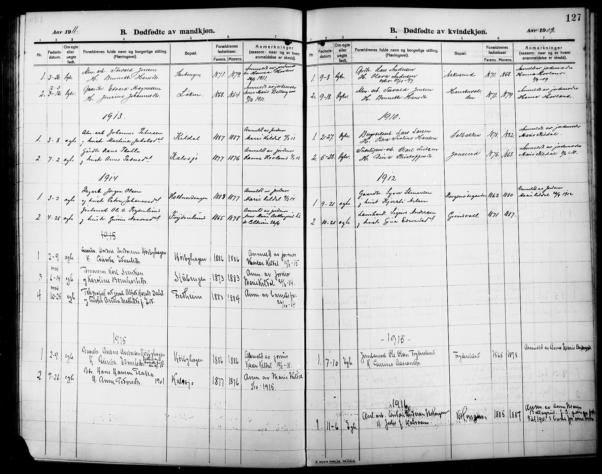SAH, Lunner prestekontor, H/Ha/Hab/L0001: Klokkerbok nr. 1, 1909-1922, s. 127