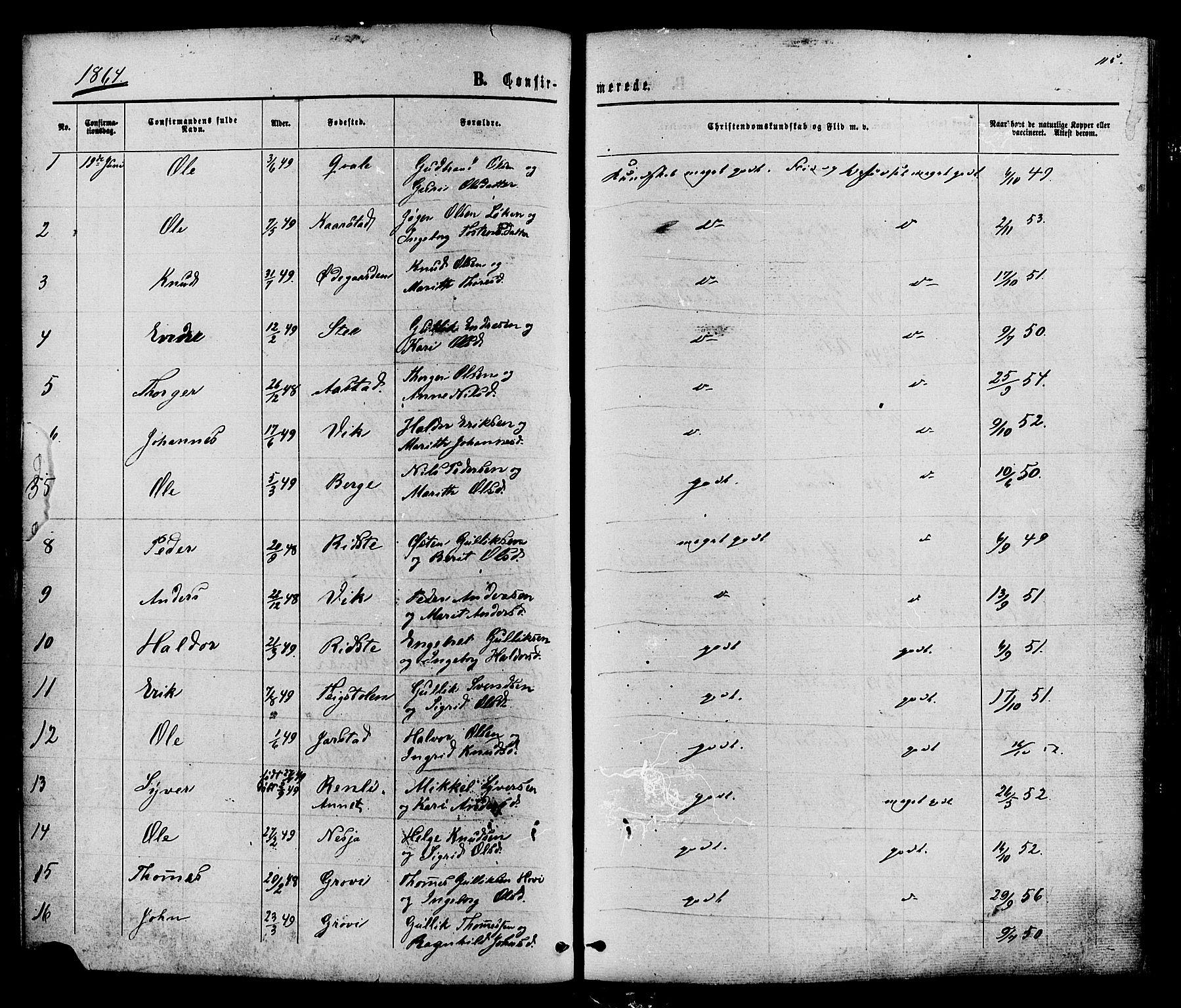 SAH, Vestre Slidre prestekontor, Ministerialbok nr. 3, 1865-1880, s. 115