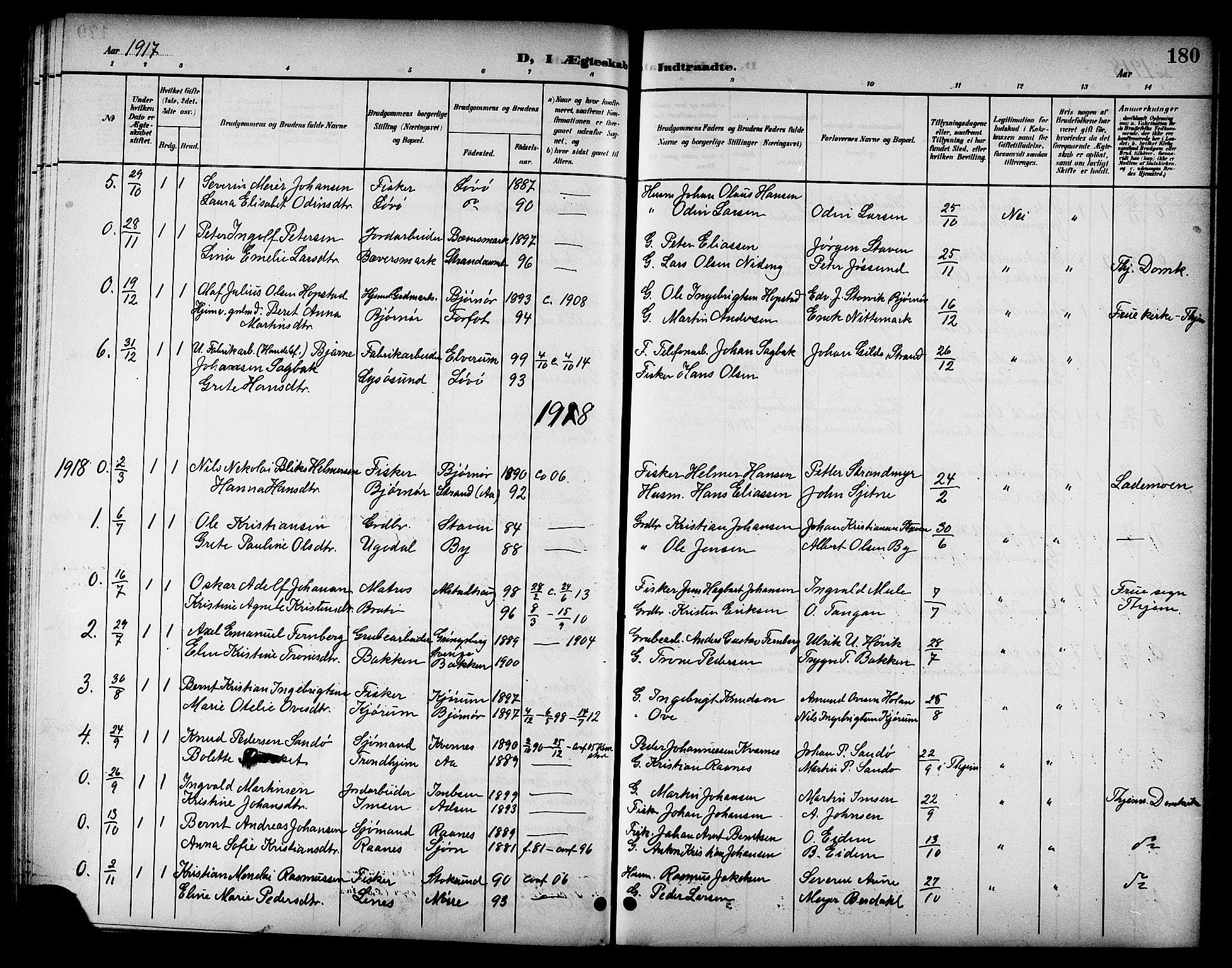 SAT, Ministerialprotokoller, klokkerbøker og fødselsregistre - Sør-Trøndelag, 655/L0688: Klokkerbok nr. 655C04, 1899-1922, s. 180