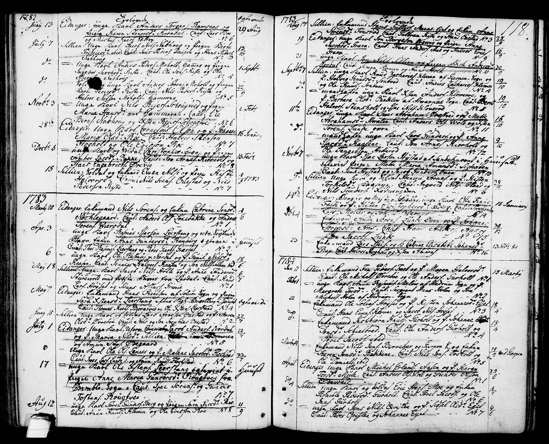 SAKO, Eidanger kirkebøker, F/Fa/L0006: Ministerialbok nr. 6, 1764-1814, s. 118