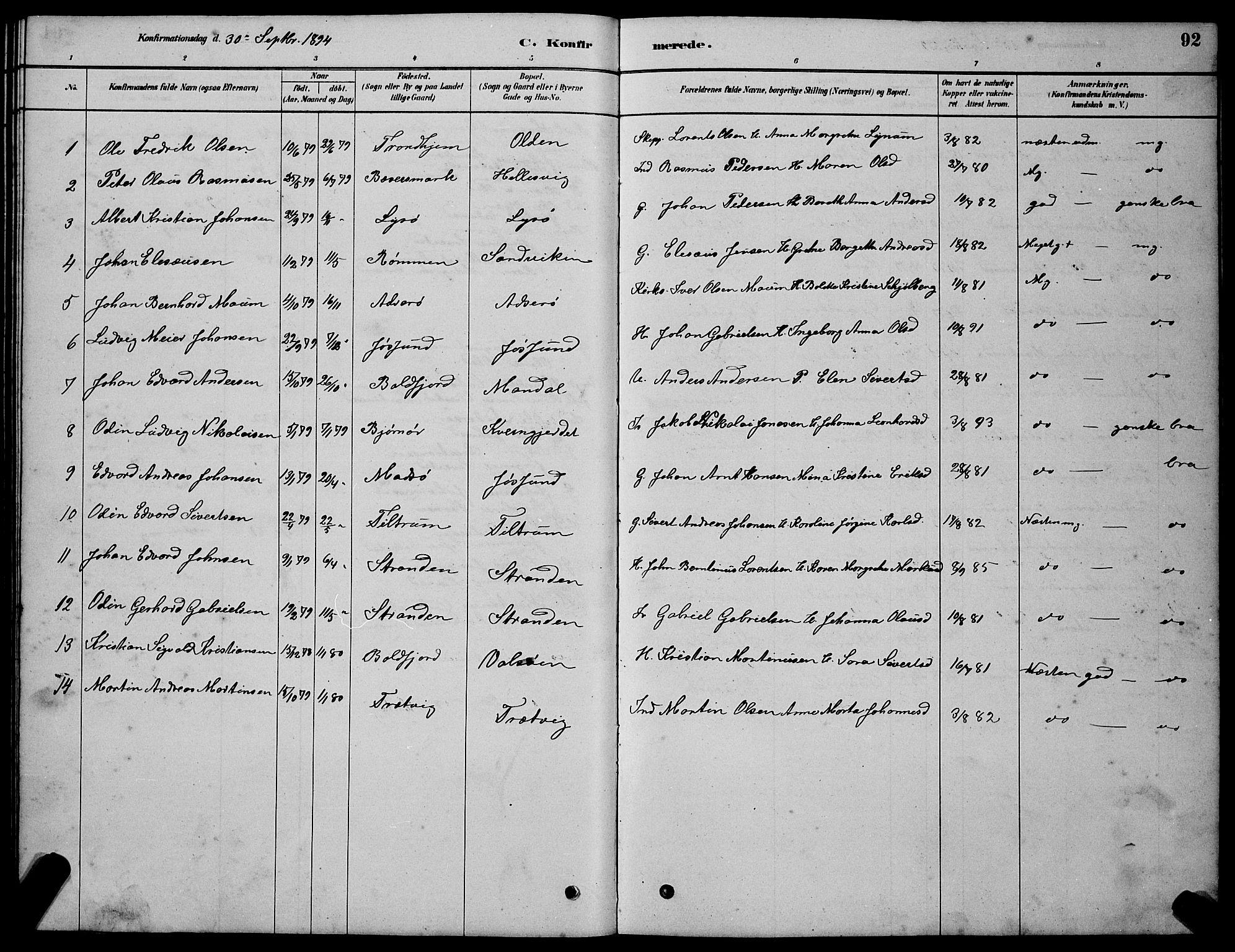 SAT, Ministerialprotokoller, klokkerbøker og fødselsregistre - Sør-Trøndelag, 654/L0665: Klokkerbok nr. 654C01, 1879-1901, s. 92