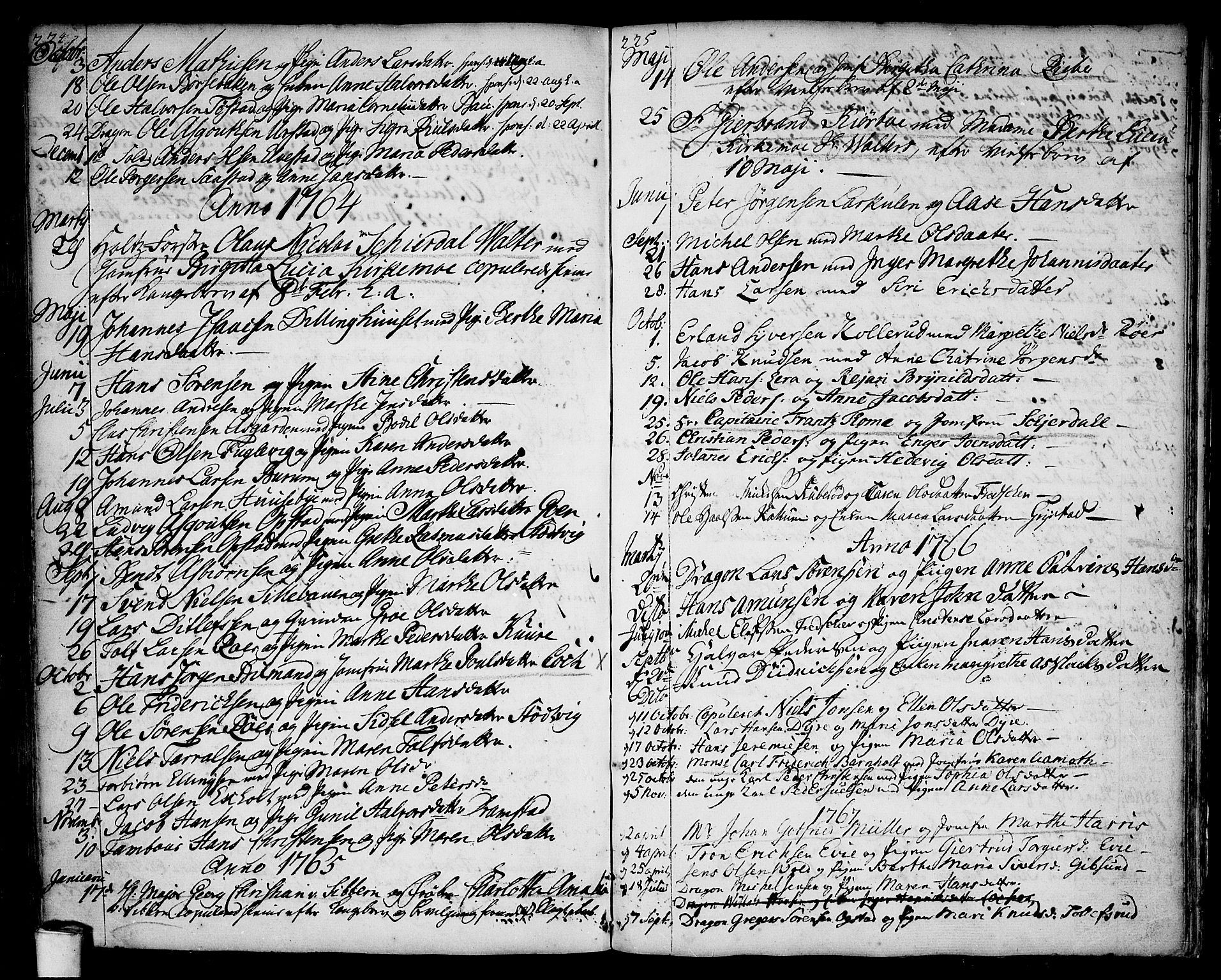 SAO, Rygge prestekontor Kirkebøker, F/Fa/L0001: Ministerialbok nr. 1, 1725-1771, s. 224-225