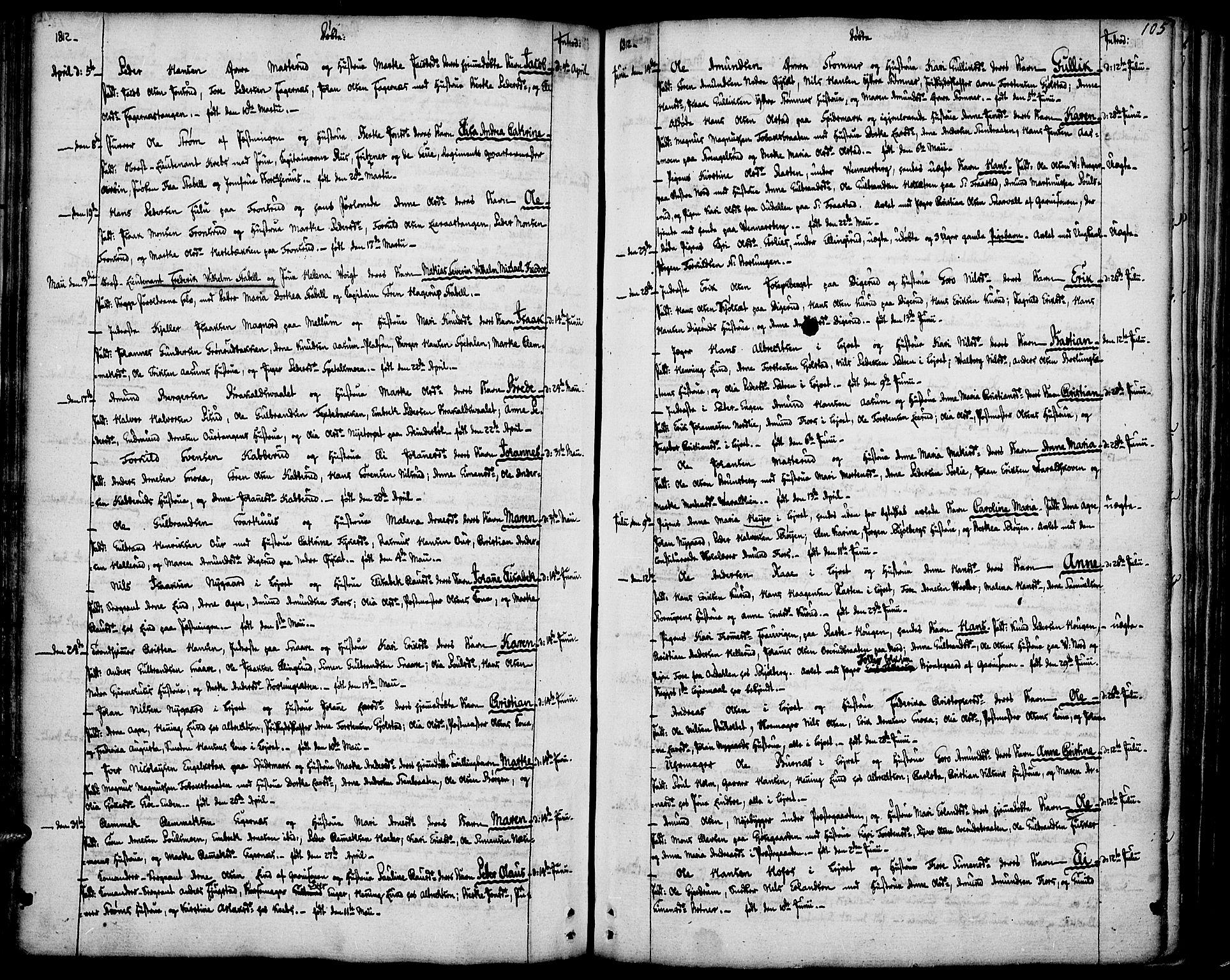 SAH, Vinger prestekontor, Ministerialbok nr. 5, 1772-1813, s. 105