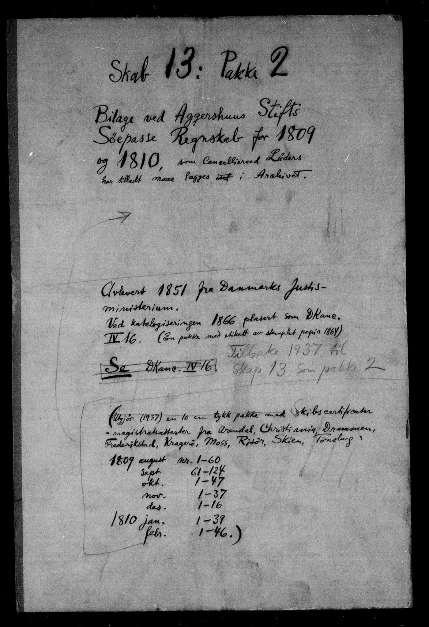 RA, Danske Kanselli, Skapsaker, F/L0052: Skap 13, pakke 2, 1809-1810, s. 3