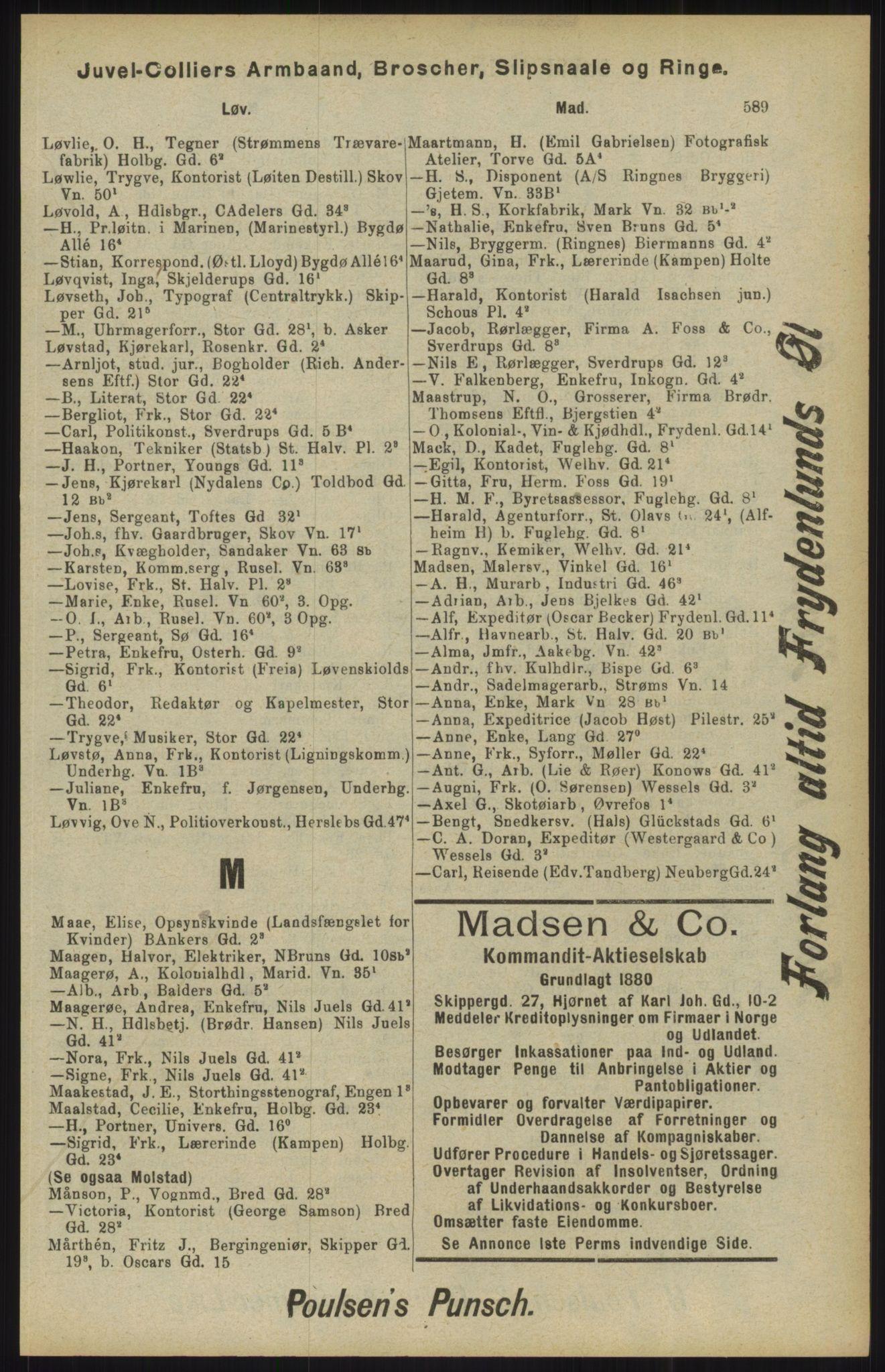 RA, Kristiania adressebok (publikasjon)*, 1904, s. 593