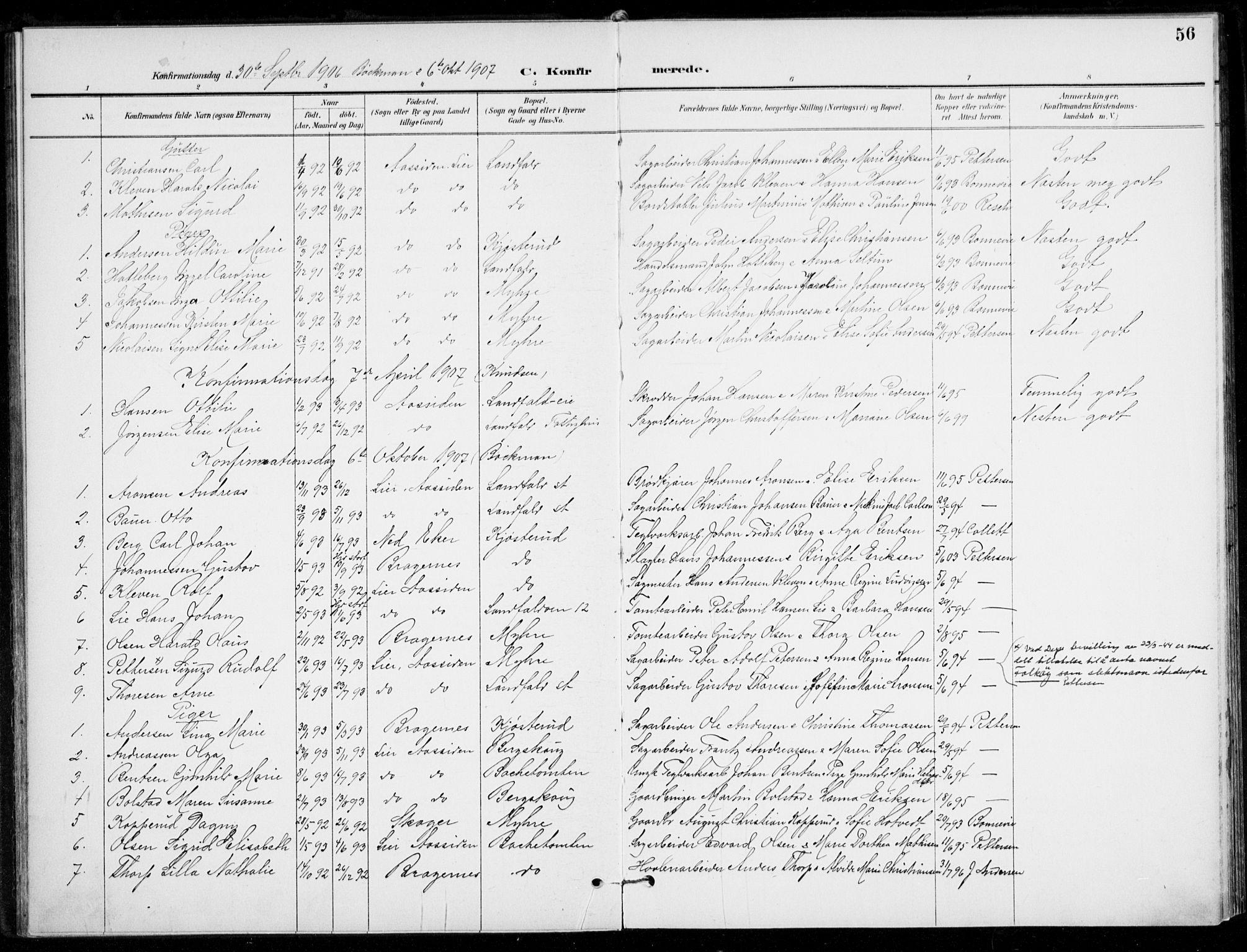 SAKO, Åssiden kirkebøker, F/Fa/L0002: Ministerialbok nr. 2, 1896-1916, s. 56