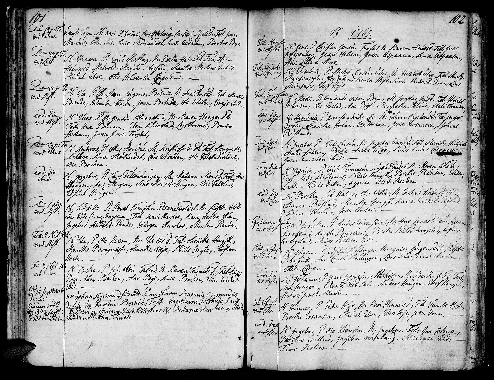 SAT, Ministerialprotokoller, klokkerbøker og fødselsregistre - Nord-Trøndelag, 717/L0141: Ministerialbok nr. 717A01, 1747-1803, s. 101-102