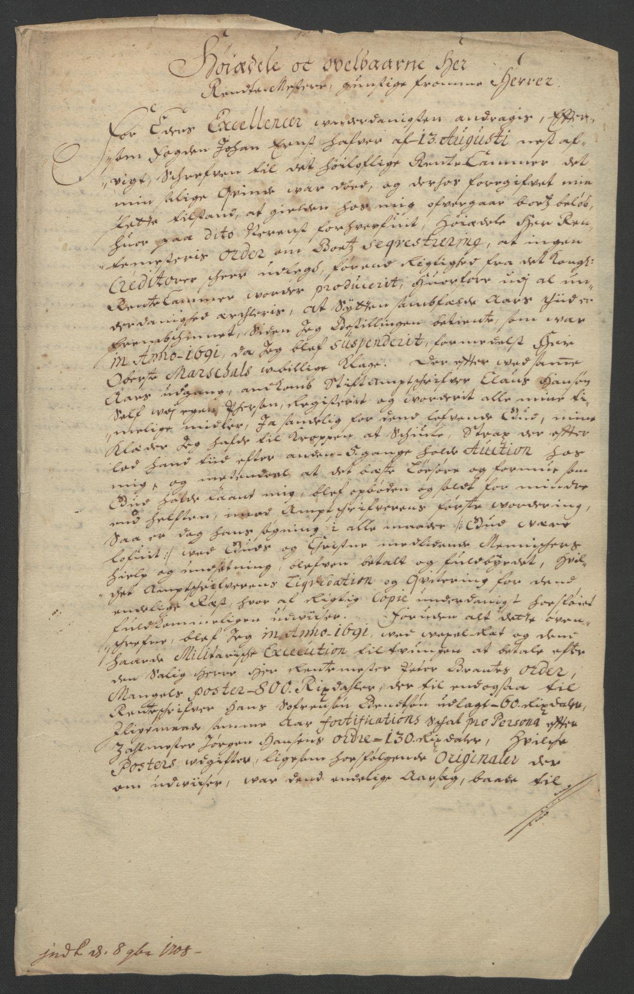 RA, Rentekammeret inntil 1814, Reviderte regnskaper, Fogderegnskap, R18/L1290: Fogderegnskap Hadeland, Toten og Valdres, 1691, s. 310