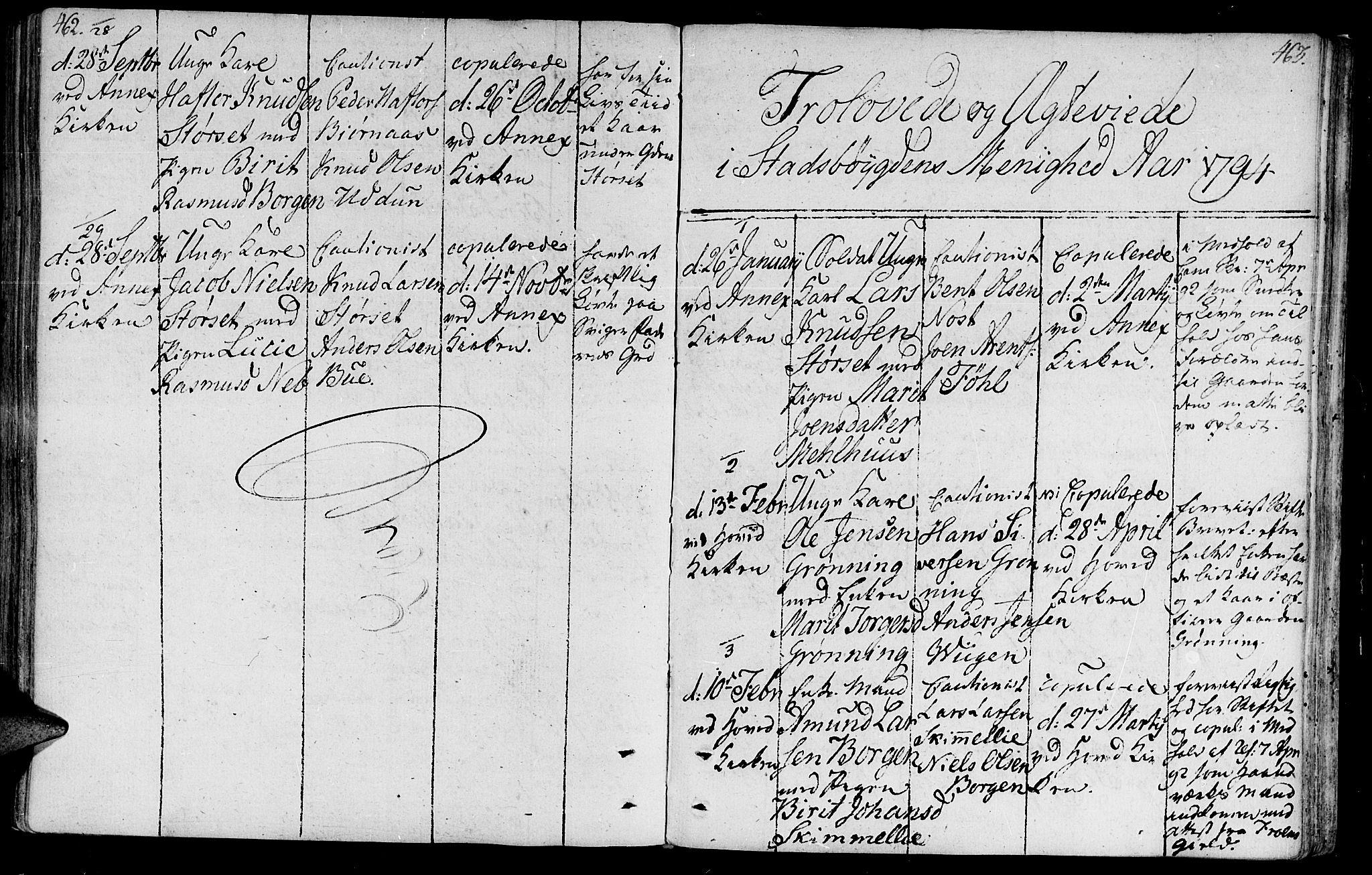 SAT, Ministerialprotokoller, klokkerbøker og fødselsregistre - Sør-Trøndelag, 646/L0606: Ministerialbok nr. 646A04, 1791-1805, s. 462-463