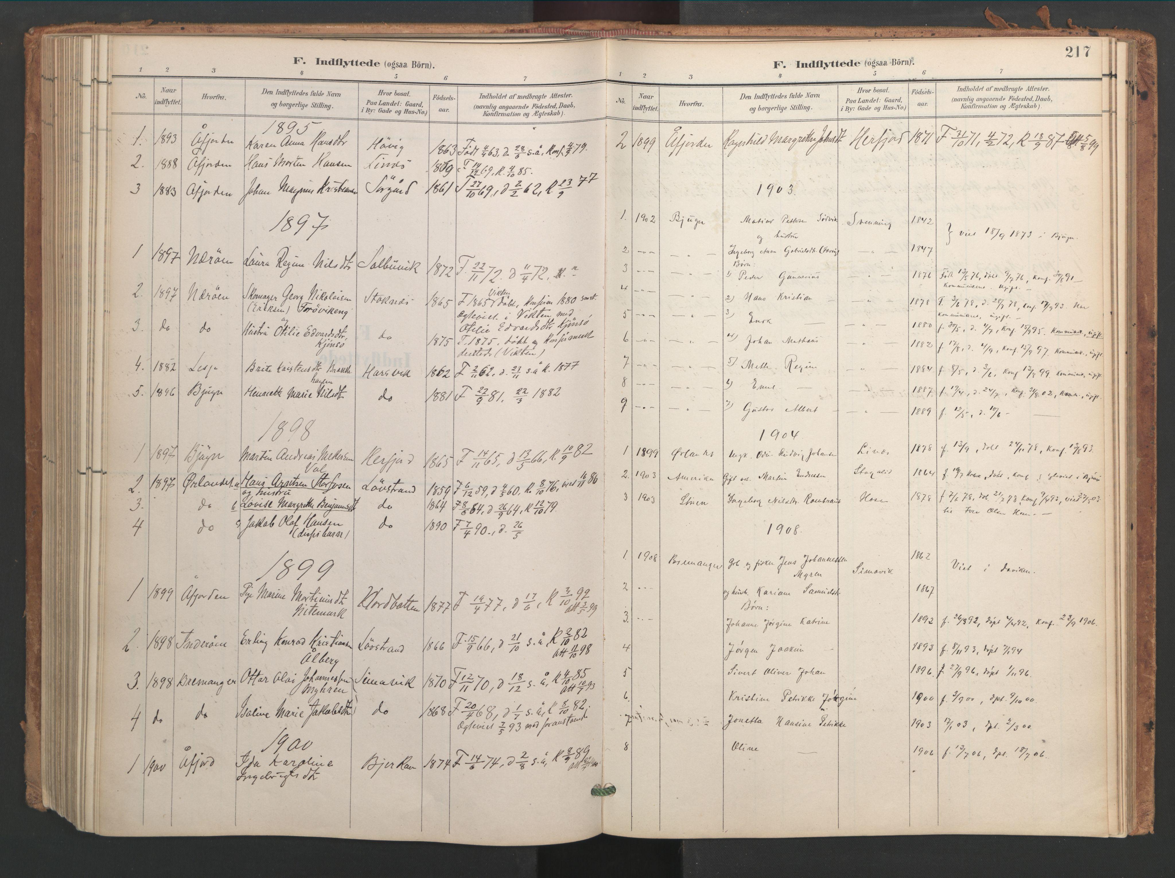 SAT, Ministerialprotokoller, klokkerbøker og fødselsregistre - Sør-Trøndelag, 656/L0693: Ministerialbok nr. 656A02, 1894-1913, s. 217