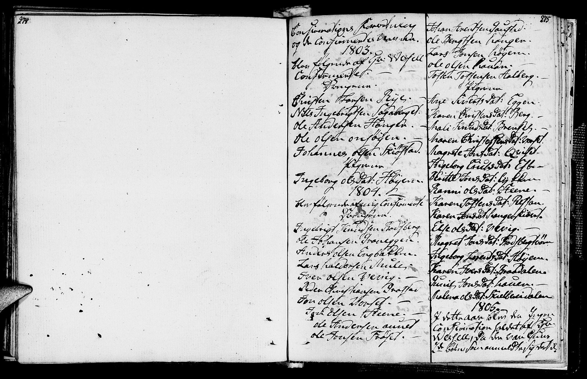 SAT, Ministerialprotokoller, klokkerbøker og fødselsregistre - Sør-Trøndelag, 612/L0371: Ministerialbok nr. 612A05, 1803-1816, s. 274-275