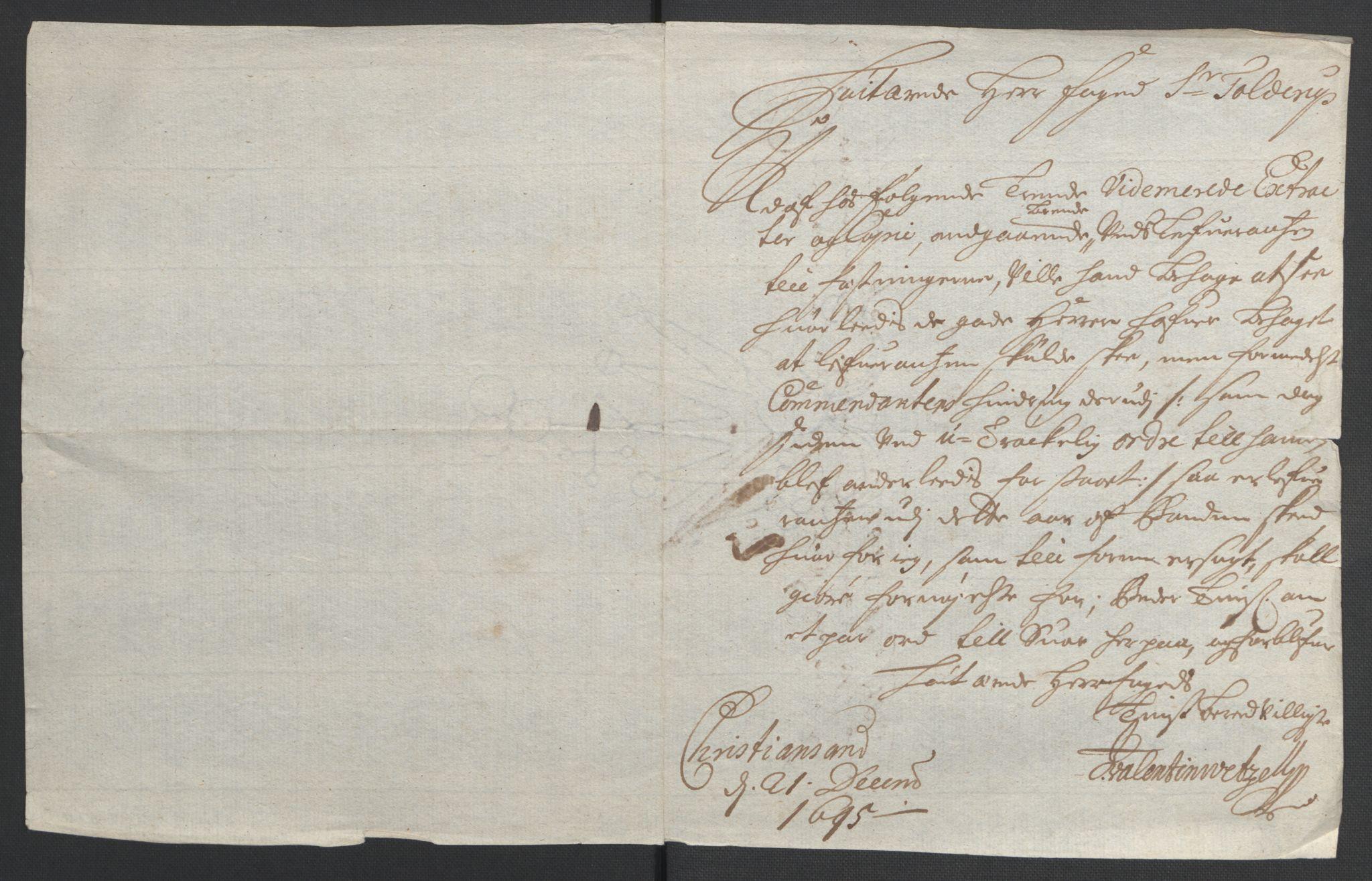 RA, Rentekammeret inntil 1814, Reviderte regnskaper, Fogderegnskap, R43/L2545: Fogderegnskap Lista og Mandal, 1694-1695, s. 176