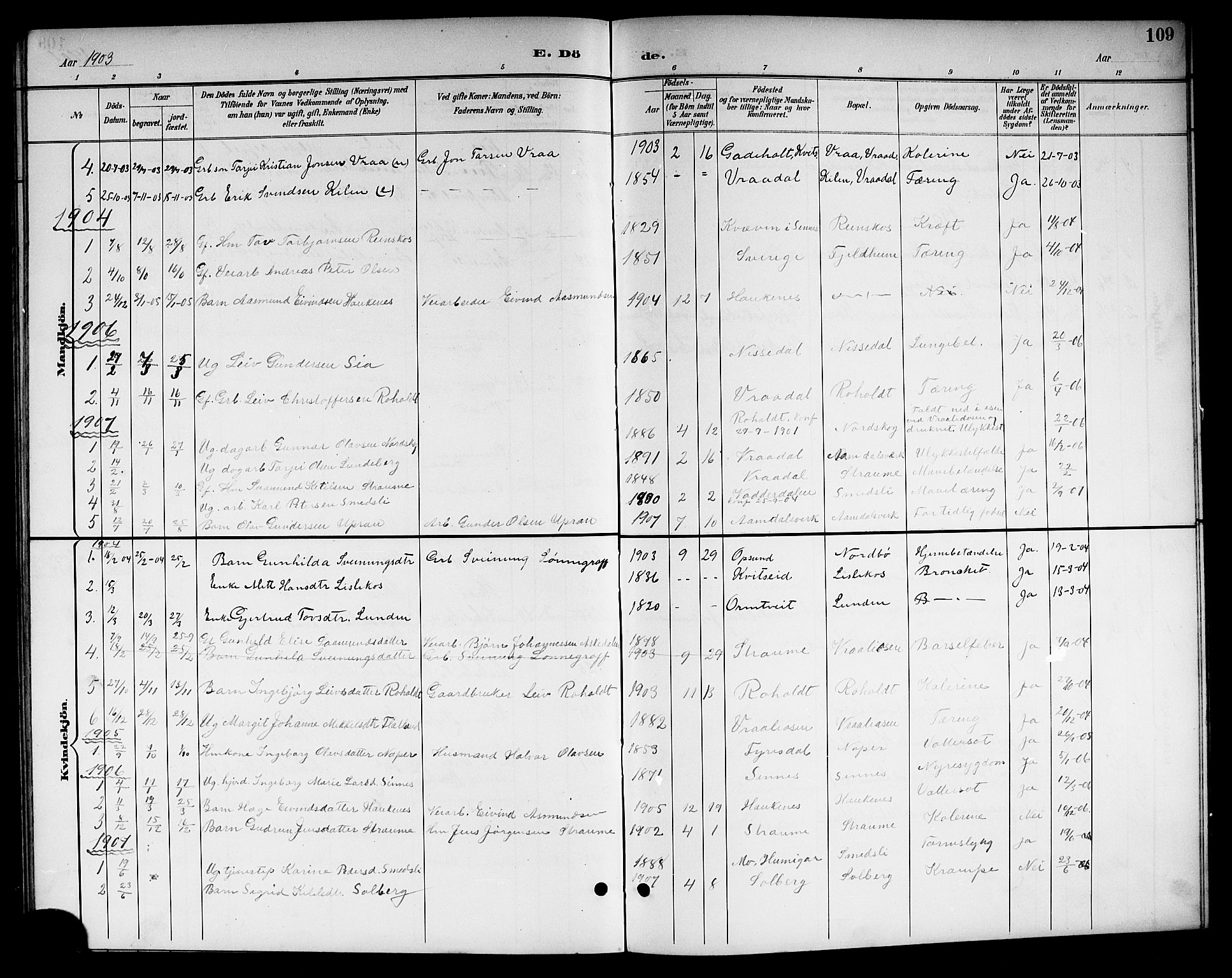 SAKO, Kviteseid kirkebøker, G/Gc/L0001: Klokkerbok nr. III 1, 1893-1916, s. 109