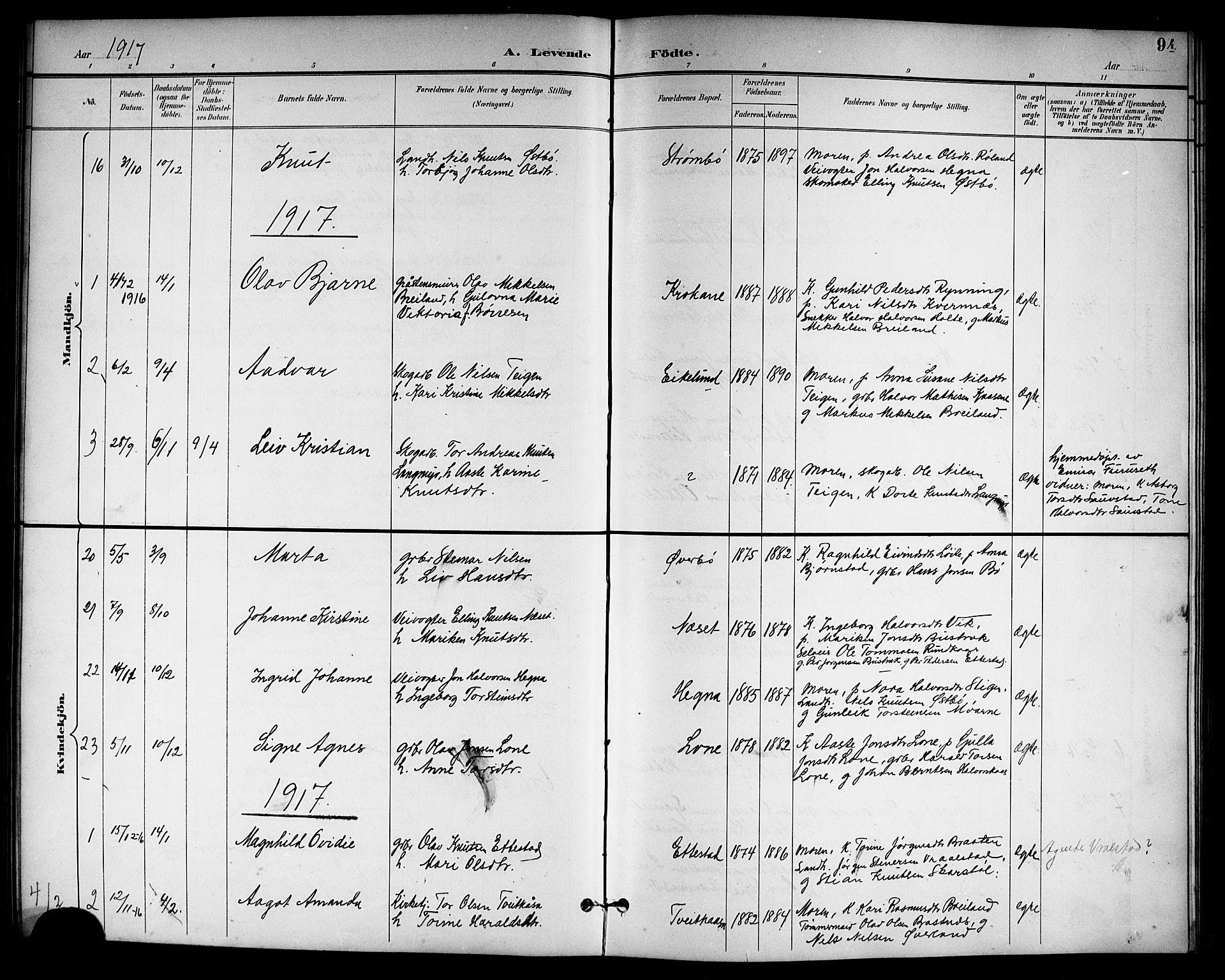 SAKO, Drangedal kirkebøker, G/Gb/L0002: Klokkerbok nr. II 2, 1895-1918, s. 94