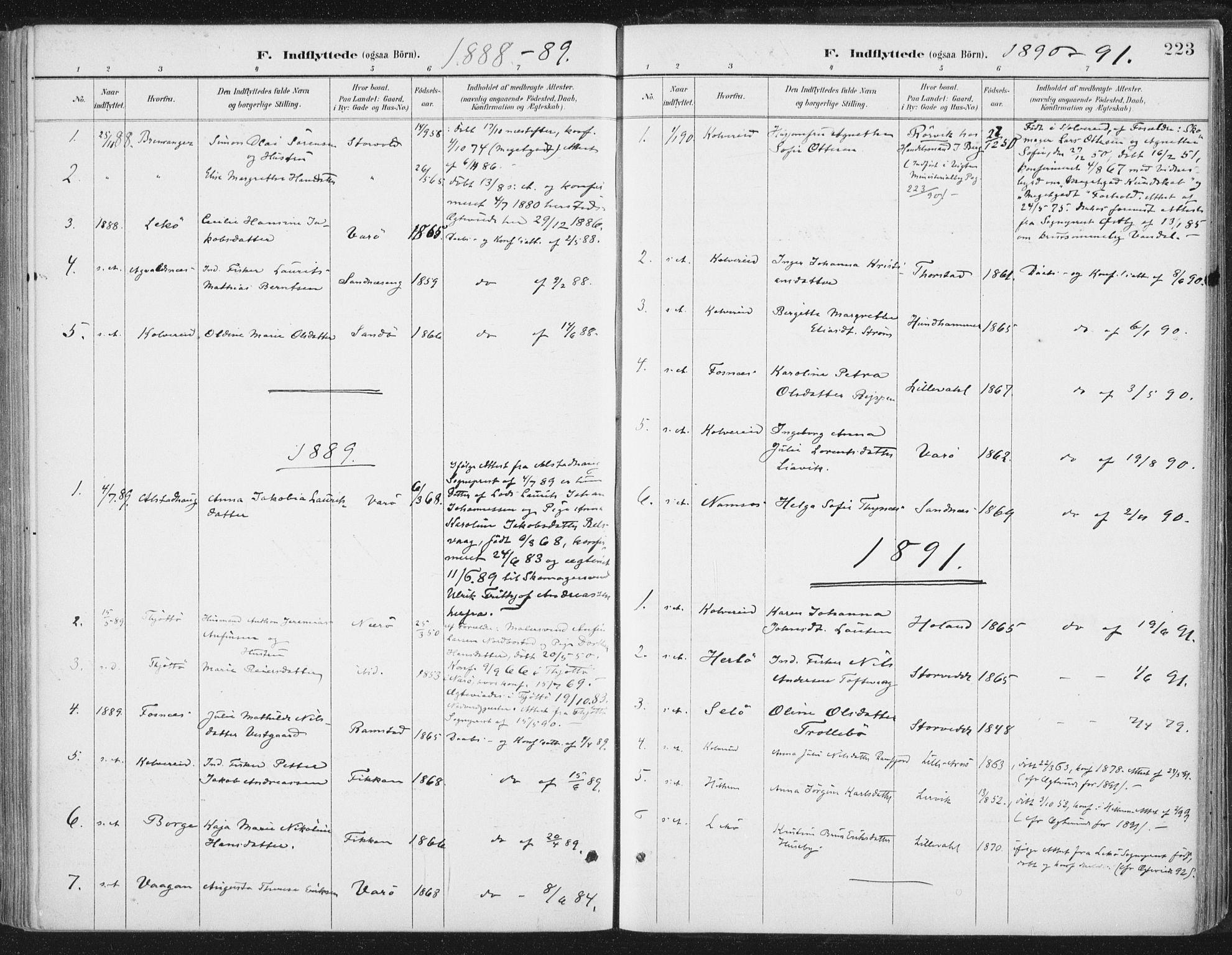 SAT, Ministerialprotokoller, klokkerbøker og fødselsregistre - Nord-Trøndelag, 784/L0673: Ministerialbok nr. 784A08, 1888-1899, s. 223