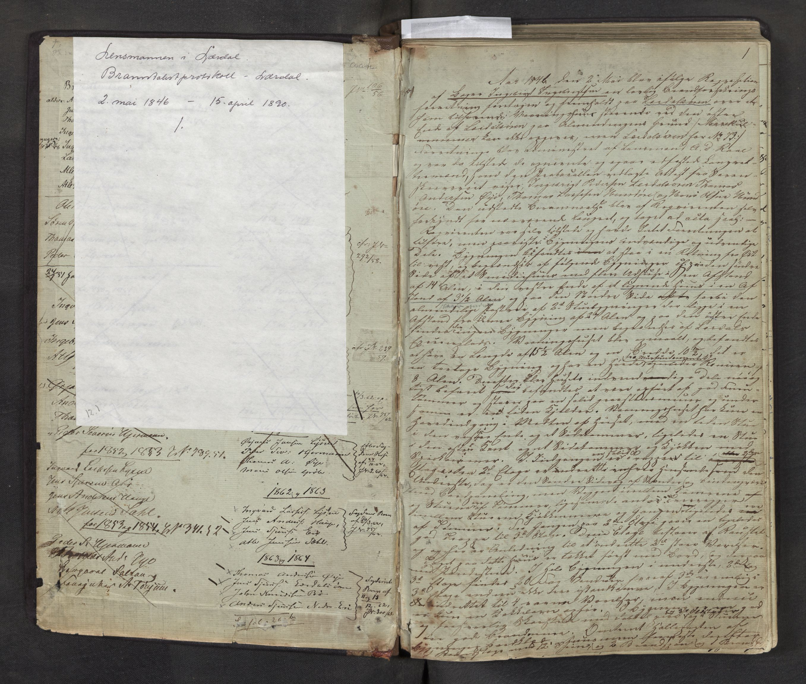 SAB, Lensmannen i Lærdal, 0012/L0001: Branntakstprotokoll, 1846-1890, s. 1a