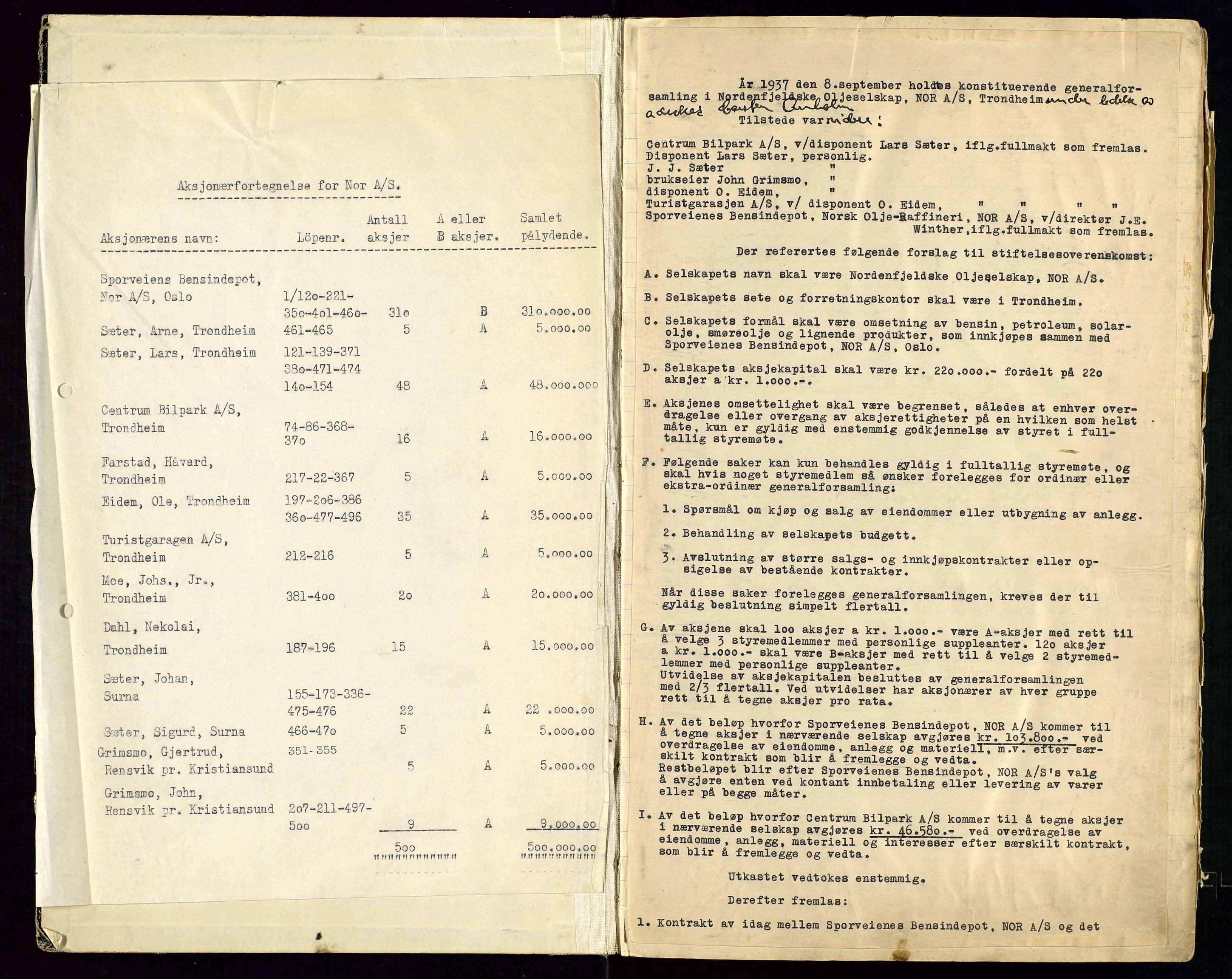 SAST, PA 1519 - Nordenfjeldske Oljeselskap, NOR A/S, A/L0001: Styreprotokoll, 1937-1962, s. 2