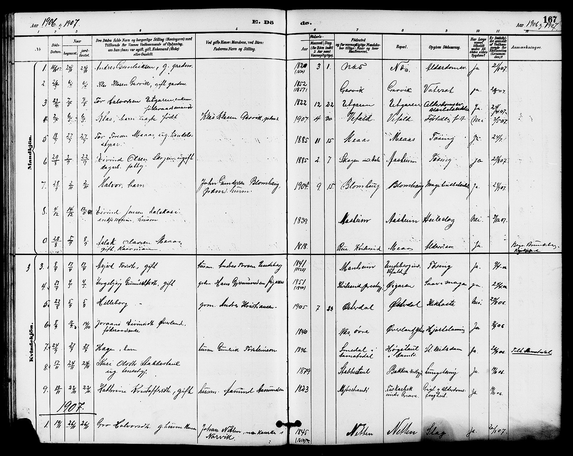 SAKO, Seljord kirkebøker, G/Ga/L0005: Klokkerbok nr. I 5, 1887-1914, s. 167