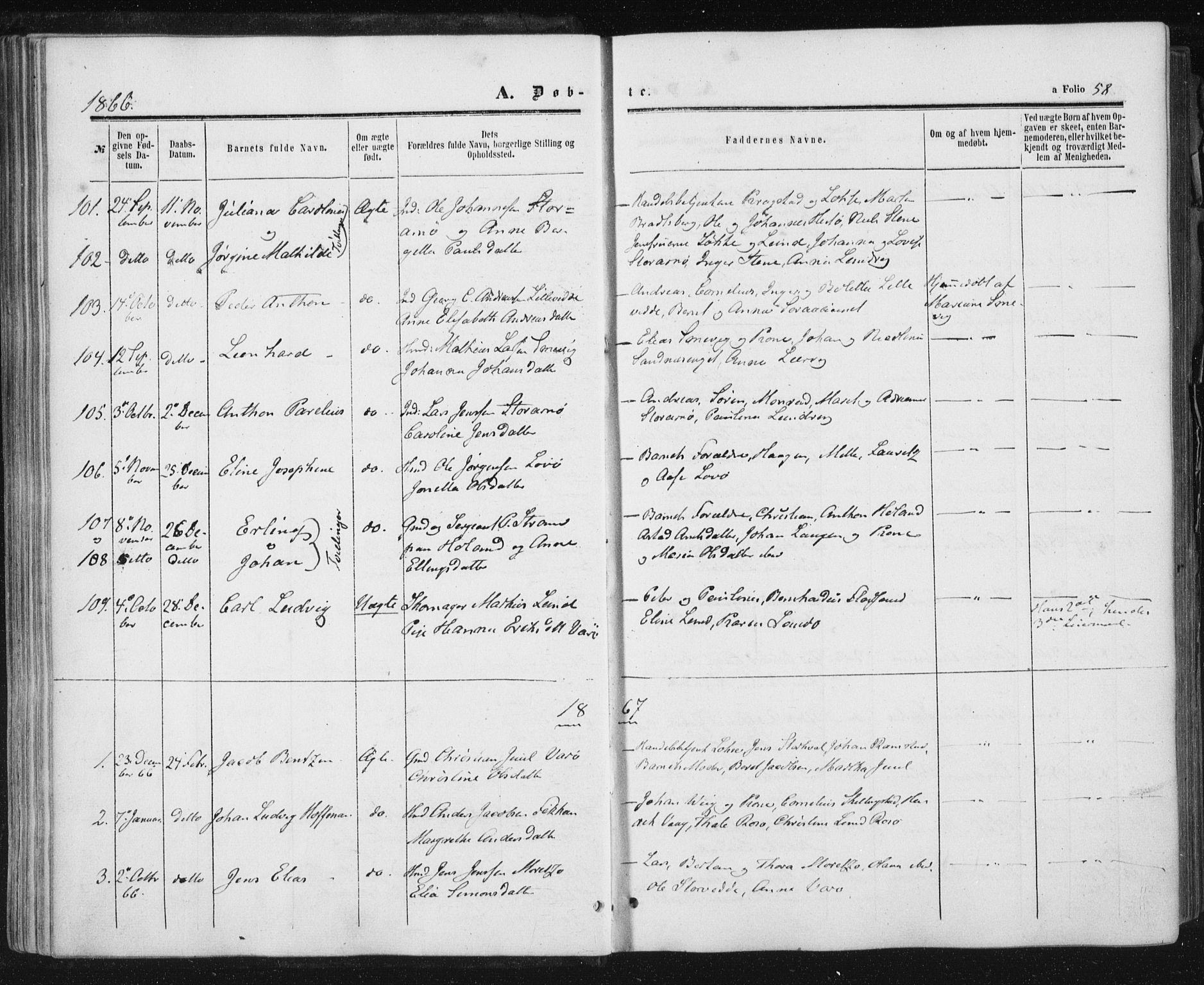 SAT, Ministerialprotokoller, klokkerbøker og fødselsregistre - Nord-Trøndelag, 784/L0670: Ministerialbok nr. 784A05, 1860-1876, s. 58