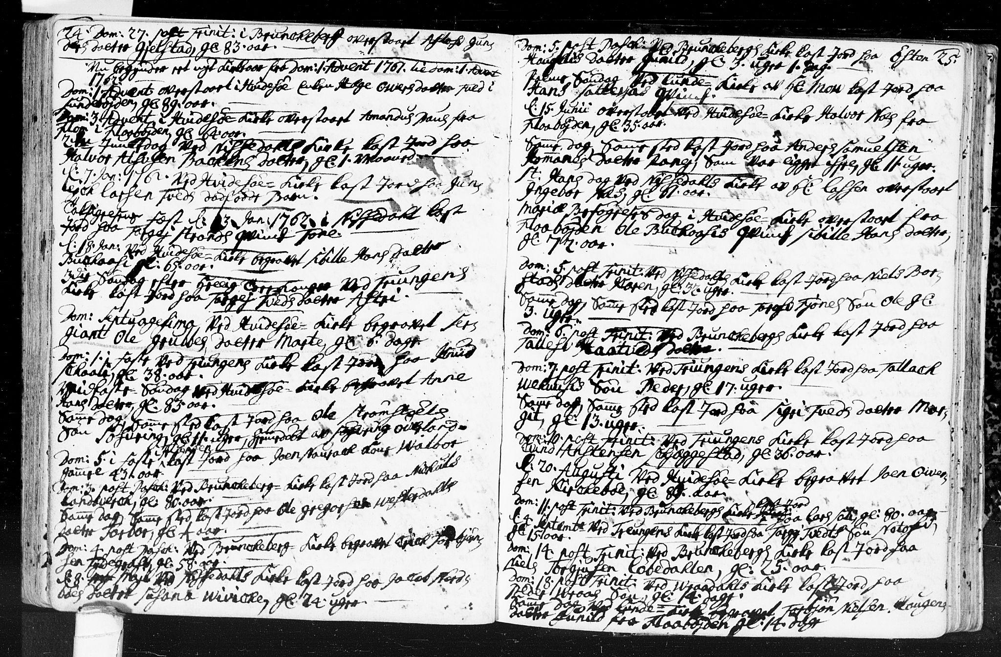 SAKO, Kviteseid kirkebøker, F/Fa/L0001: Ministerialbok nr. I 1, 1754-1773, s. 24-25