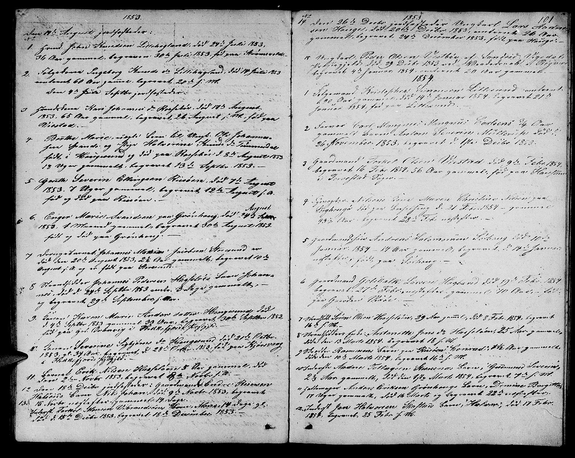 SAST, Torvastad sokneprestkontor, H/Ha/Hab/L0004: Klokkerbok nr. B 4, 1850-1864, s. 101