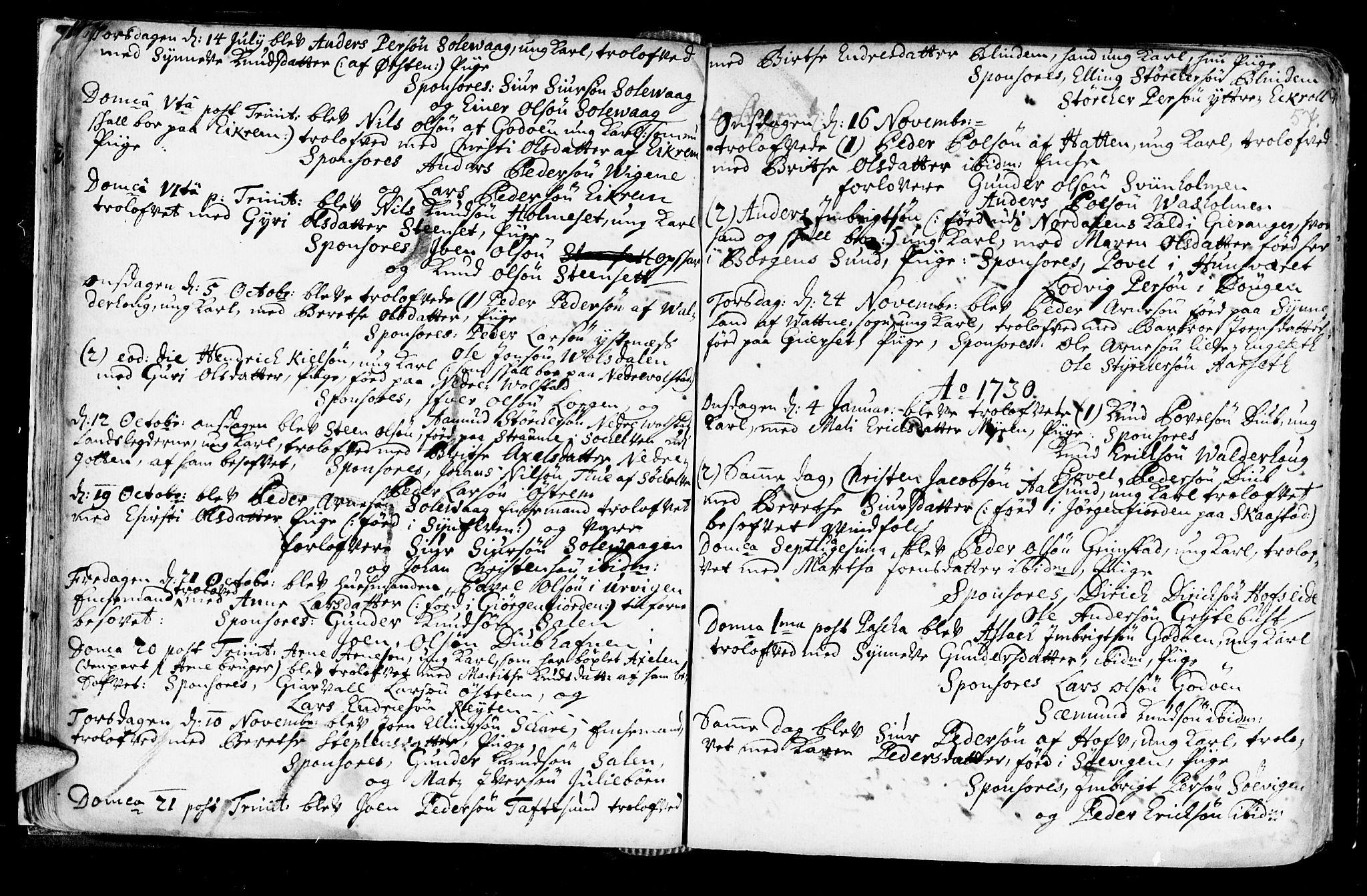 SAT, Ministerialprotokoller, klokkerbøker og fødselsregistre - Møre og Romsdal, 528/L0390: Ministerialbok nr. 528A01, 1698-1739, s. 56-57